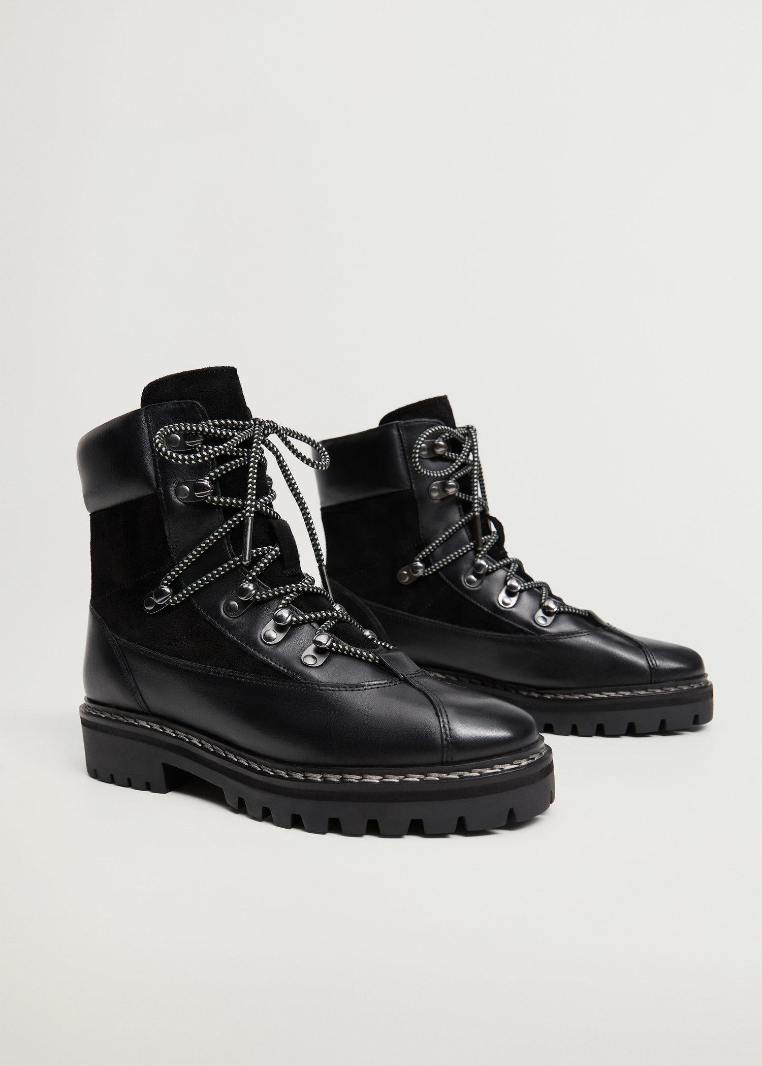 Contrast lace-up leather boots 1