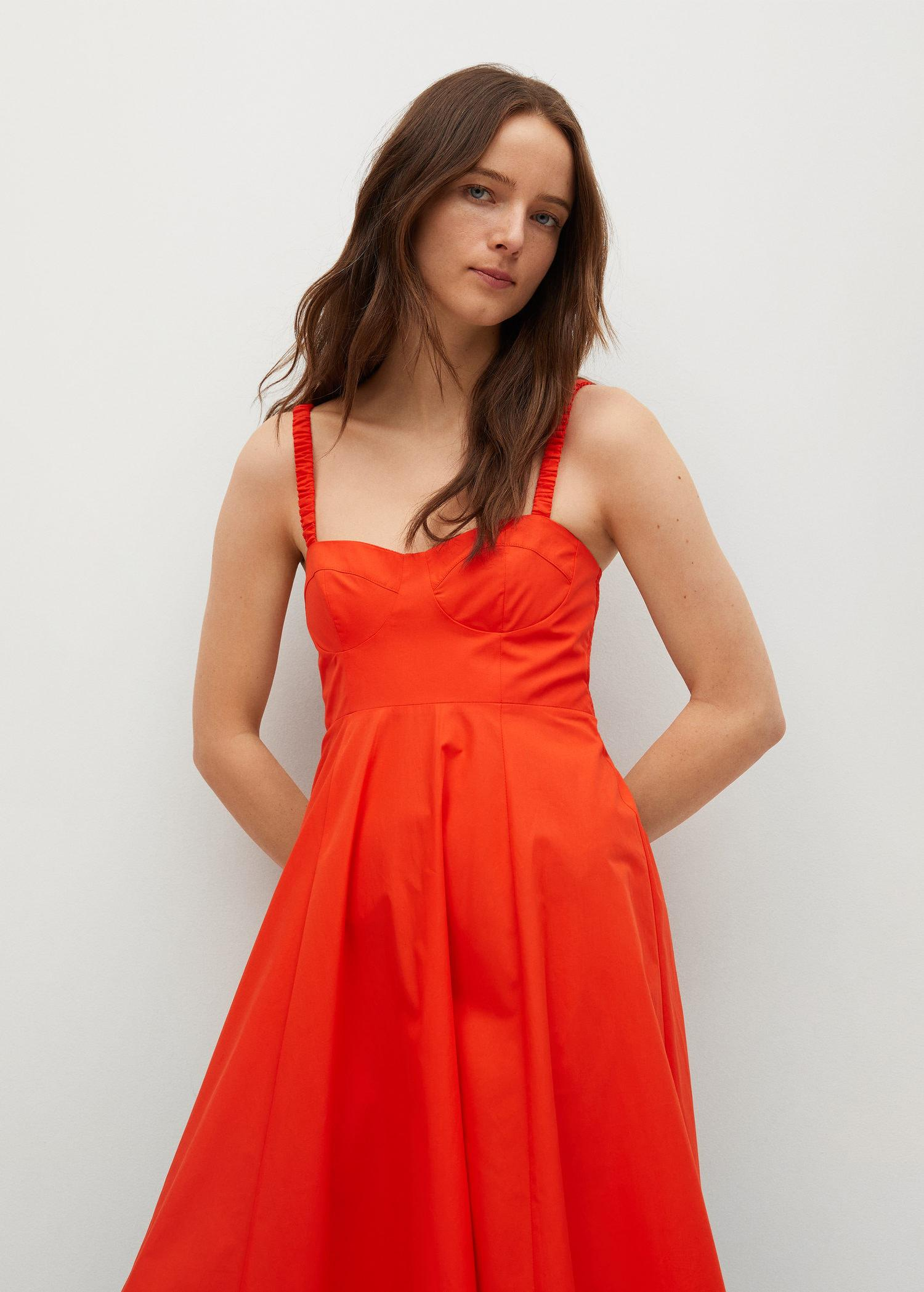 Cotton dress with seams