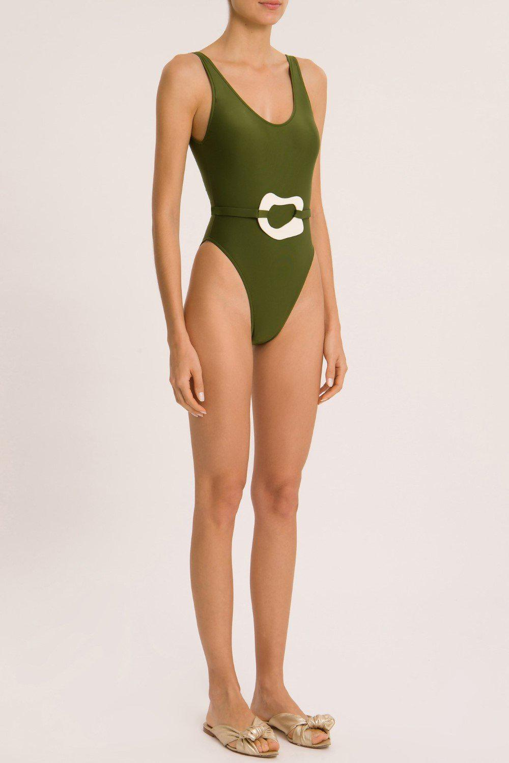 Solid Basic Swimsuit With Buckle Detail