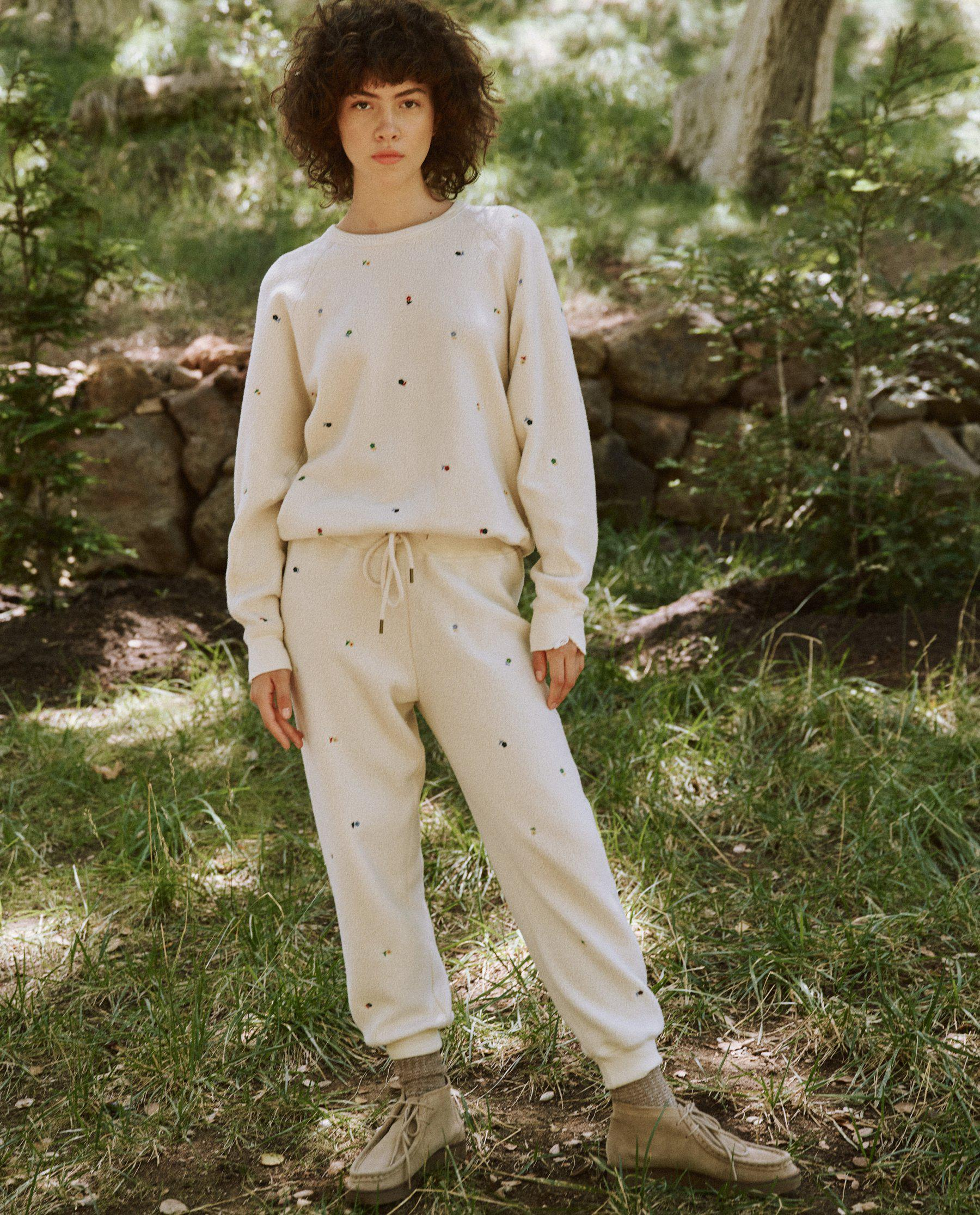 The Sherpa College Sweatshirt. -- Washed White with Ditsy Floral Embroidery