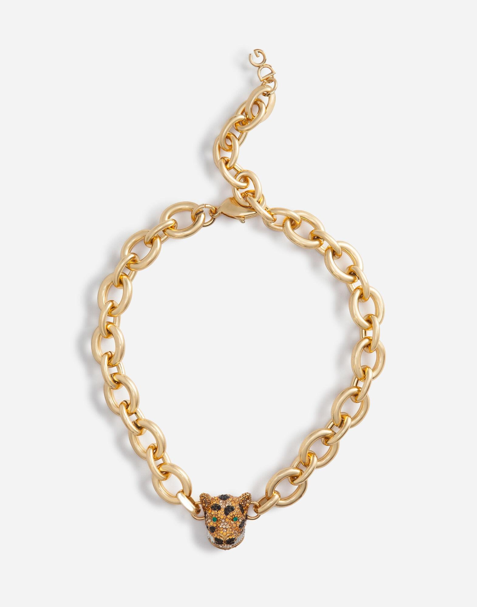 Chain choker necklace with leopard in crystal pavé