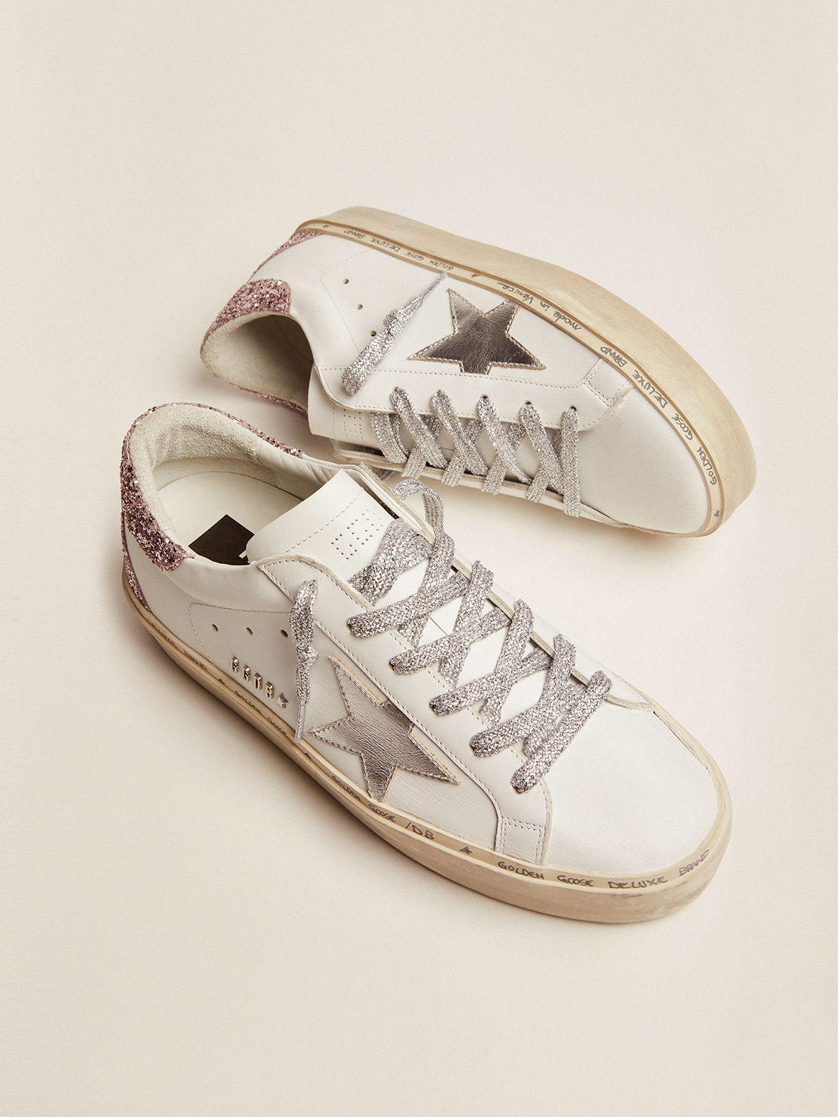 Hi Star sneakers with silver laminated leather star and quartz-pink glitter heel tab 1