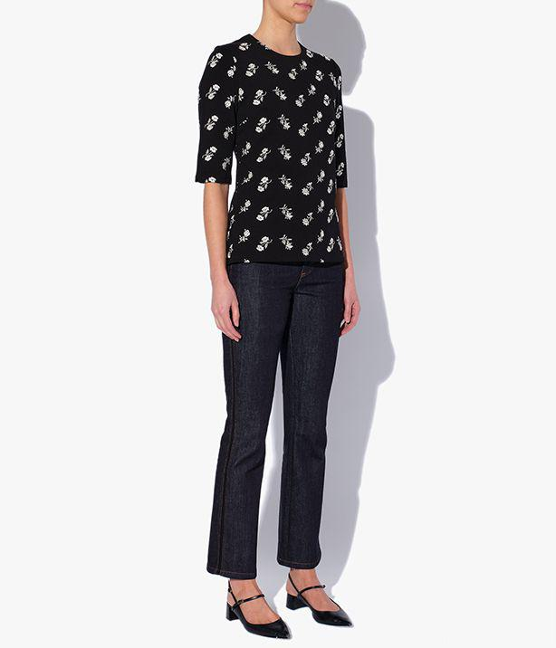 Stella Top Embroidered Ponte Jersey