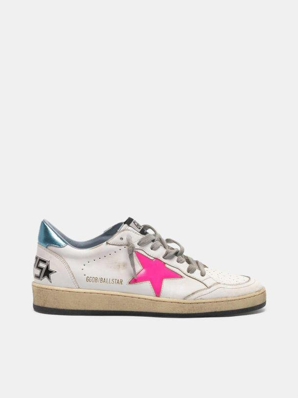 Ball Star sneakers with fuchsia star and sky blue heel tab