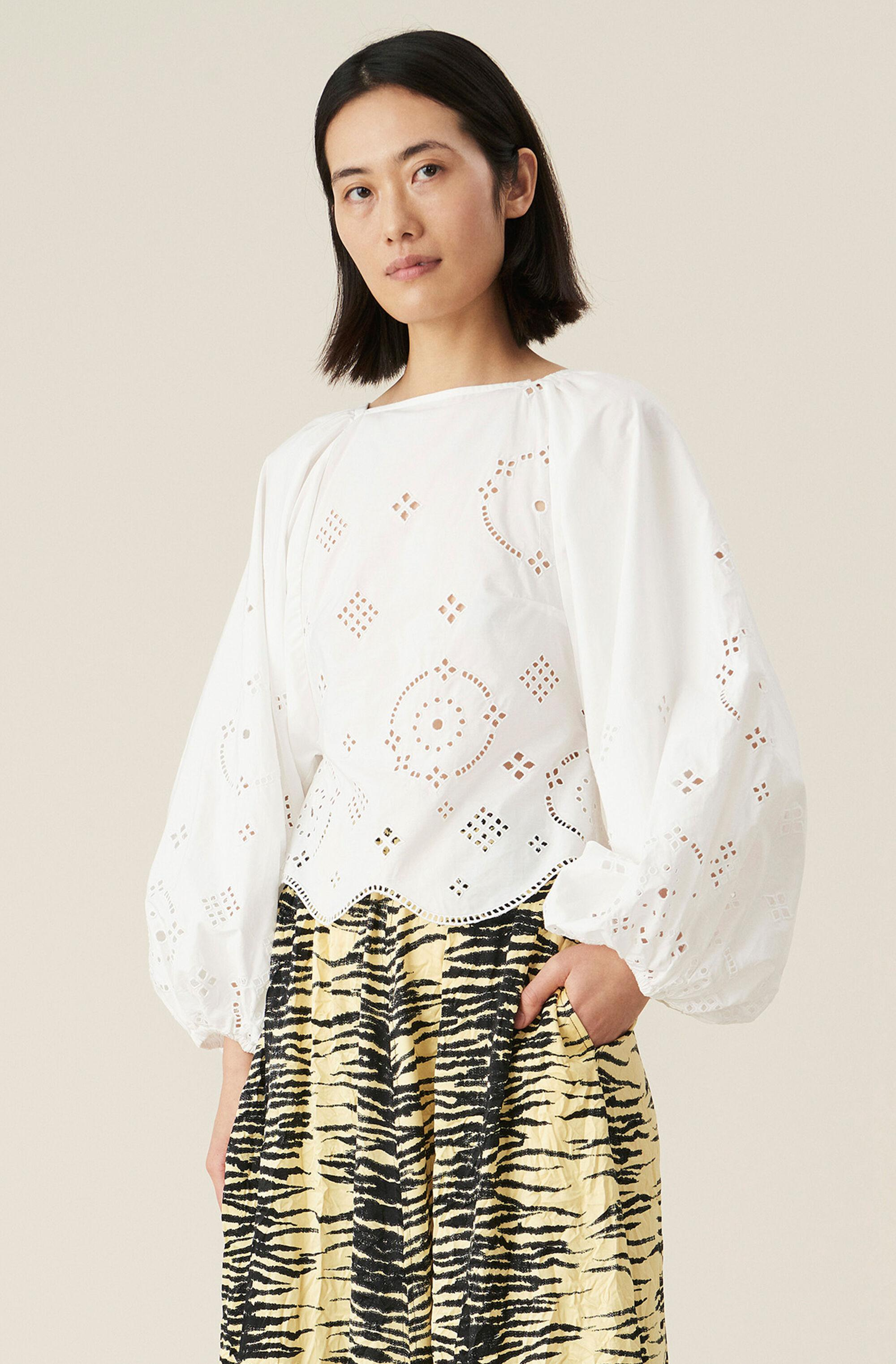 Broderie Anglaise Open-Back Blouse