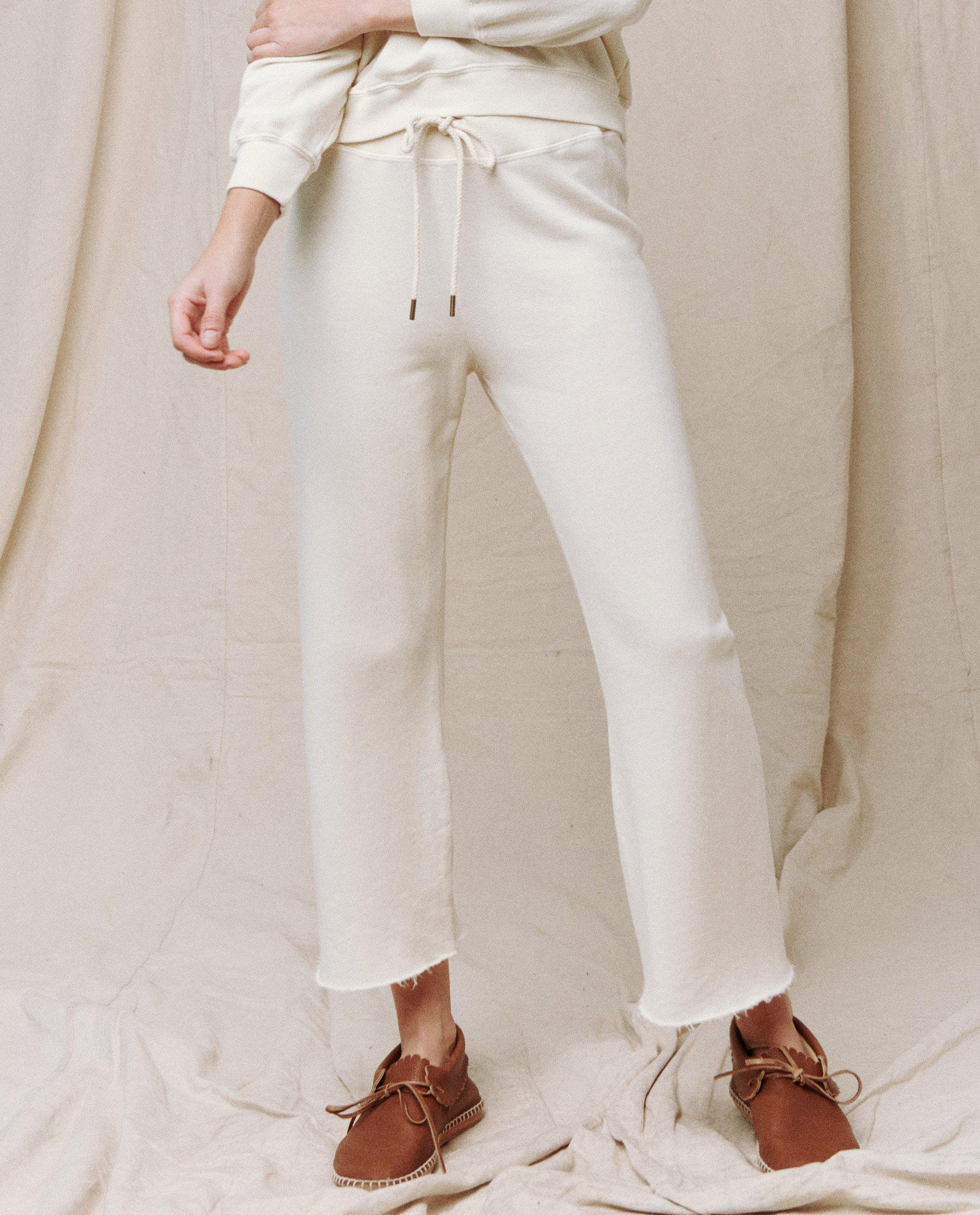 The Wide Leg Cropped Sweatpant. -- WASHED WHITE 3