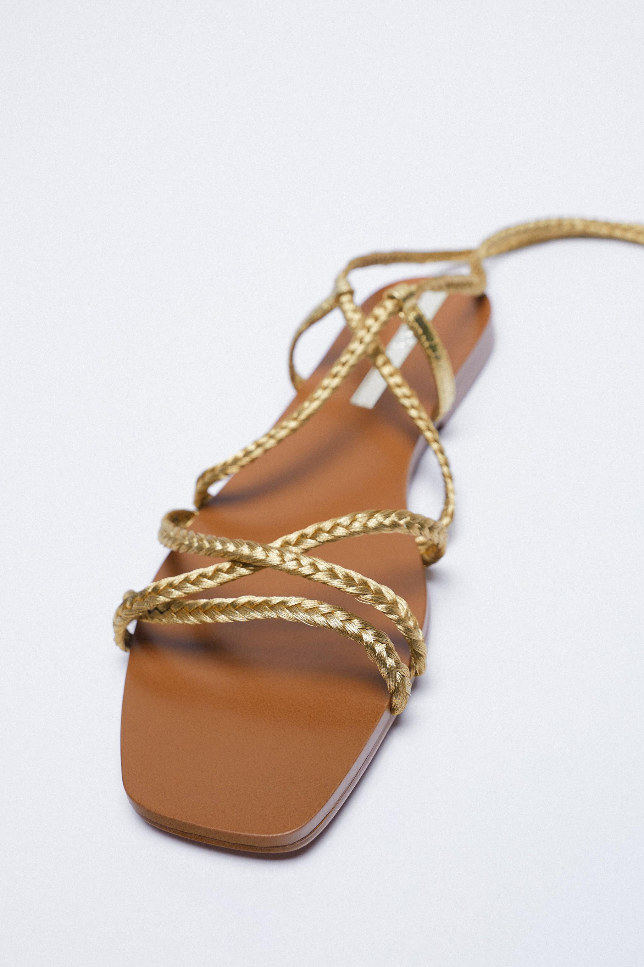 LOW HEEL WOVEN METALLIC SANDALS WITH TIED ANKLE 2