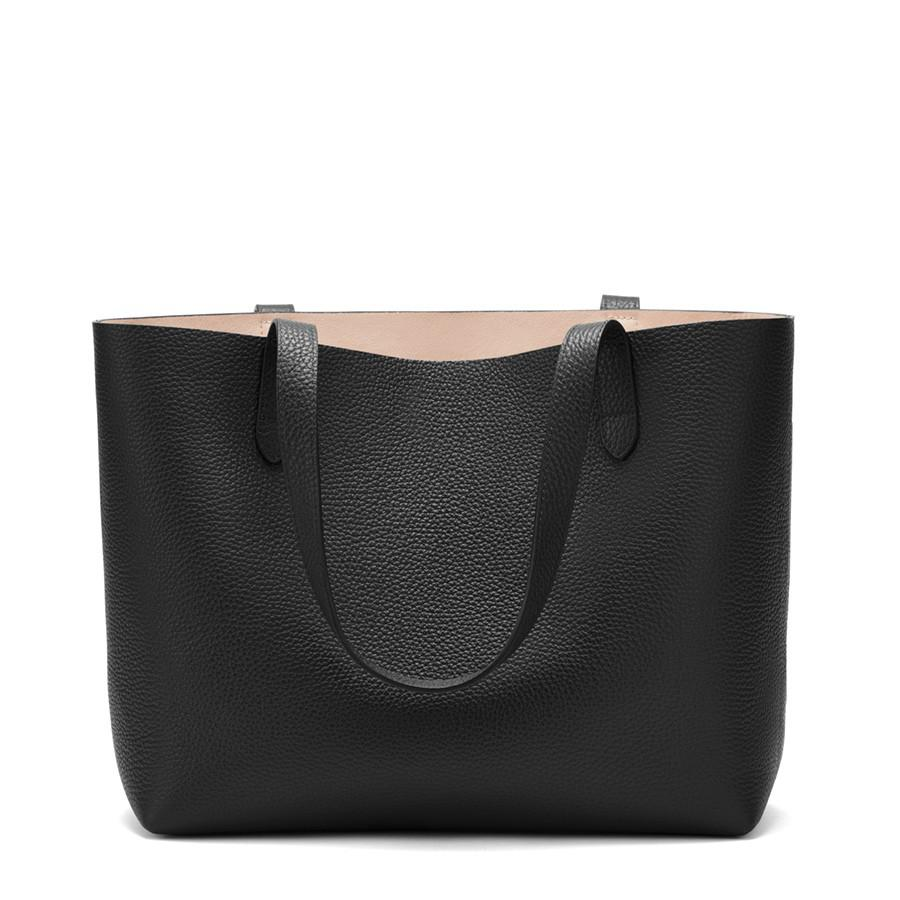 Women's Small Structured Leather Tote Bag in Black/Blush Pink | Pebbled Leather by Cuyana