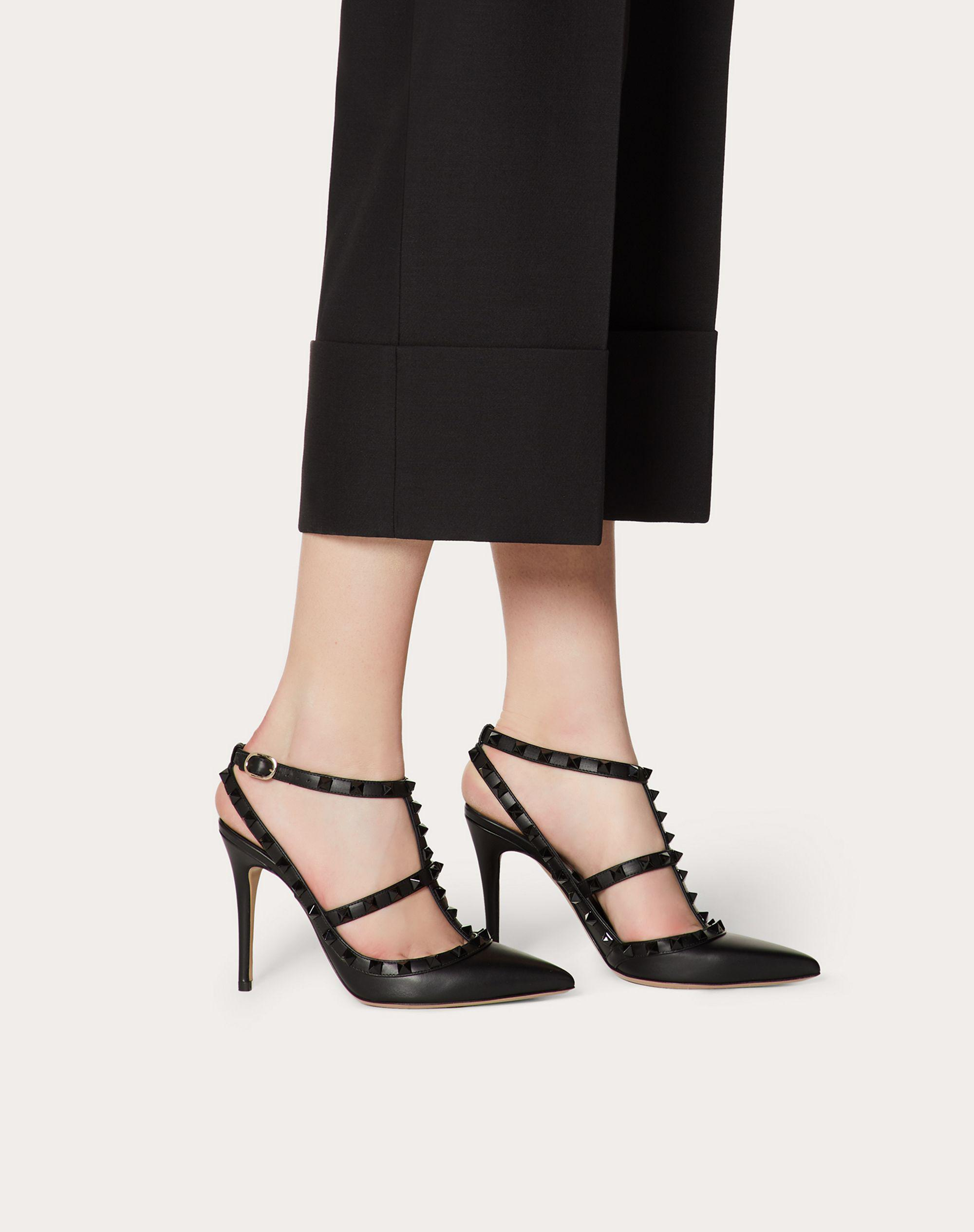 Rockstud Ankle Strap Pump with Tonal Studs 100  mm 5