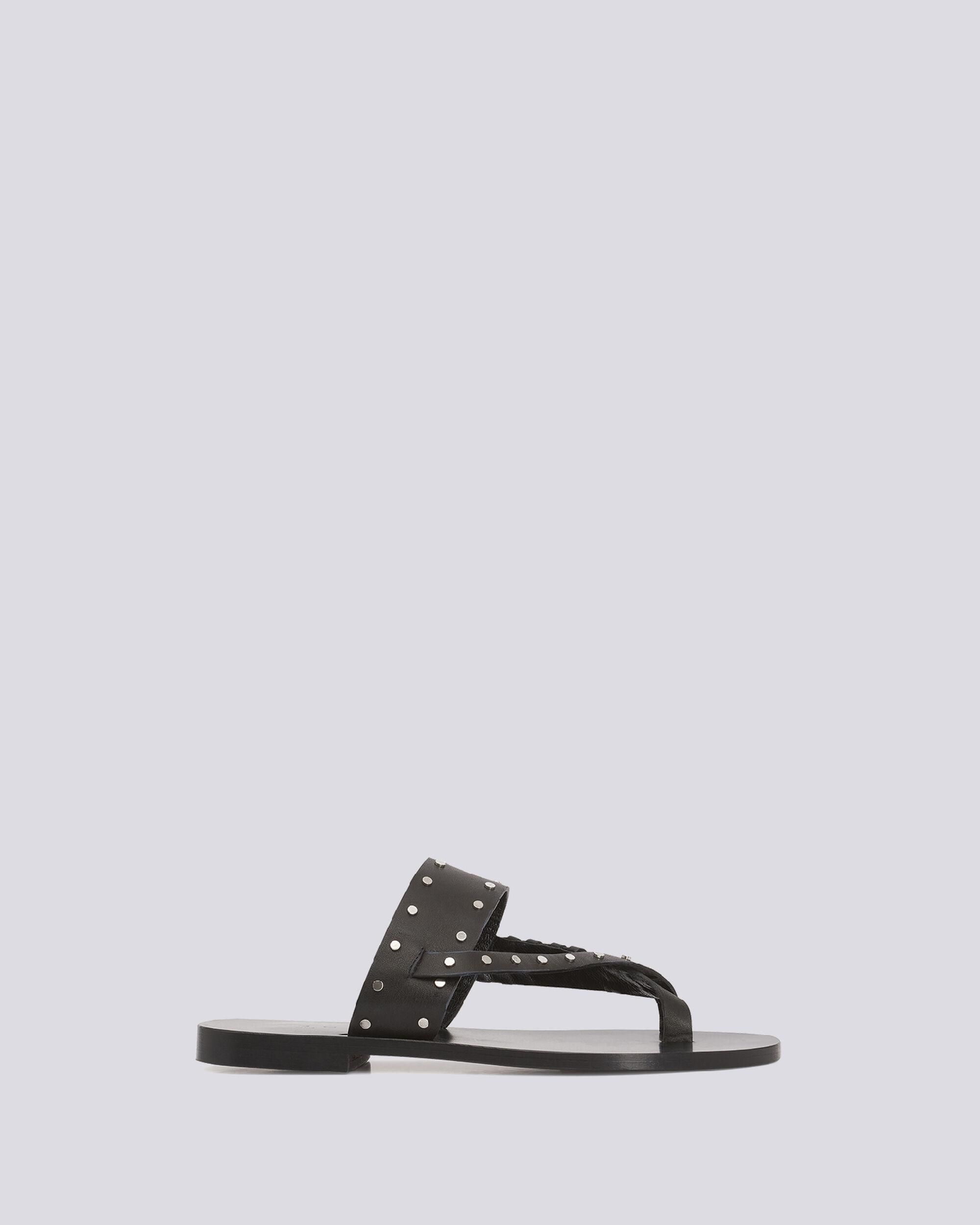 WIKI TOE RING FLAT LEATHER SANDALS