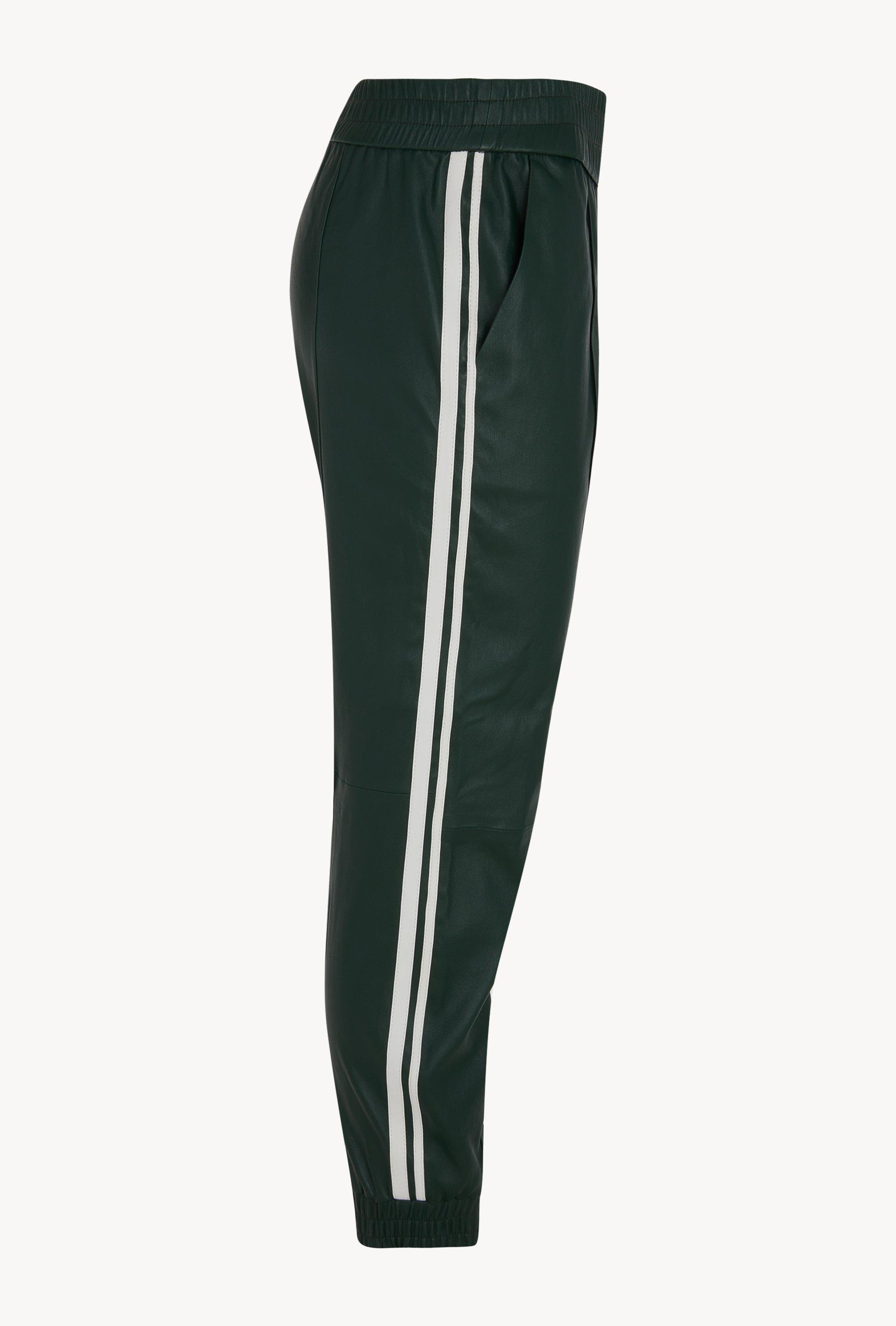 Dark Green Athletic Slim Fit Leather Jogger