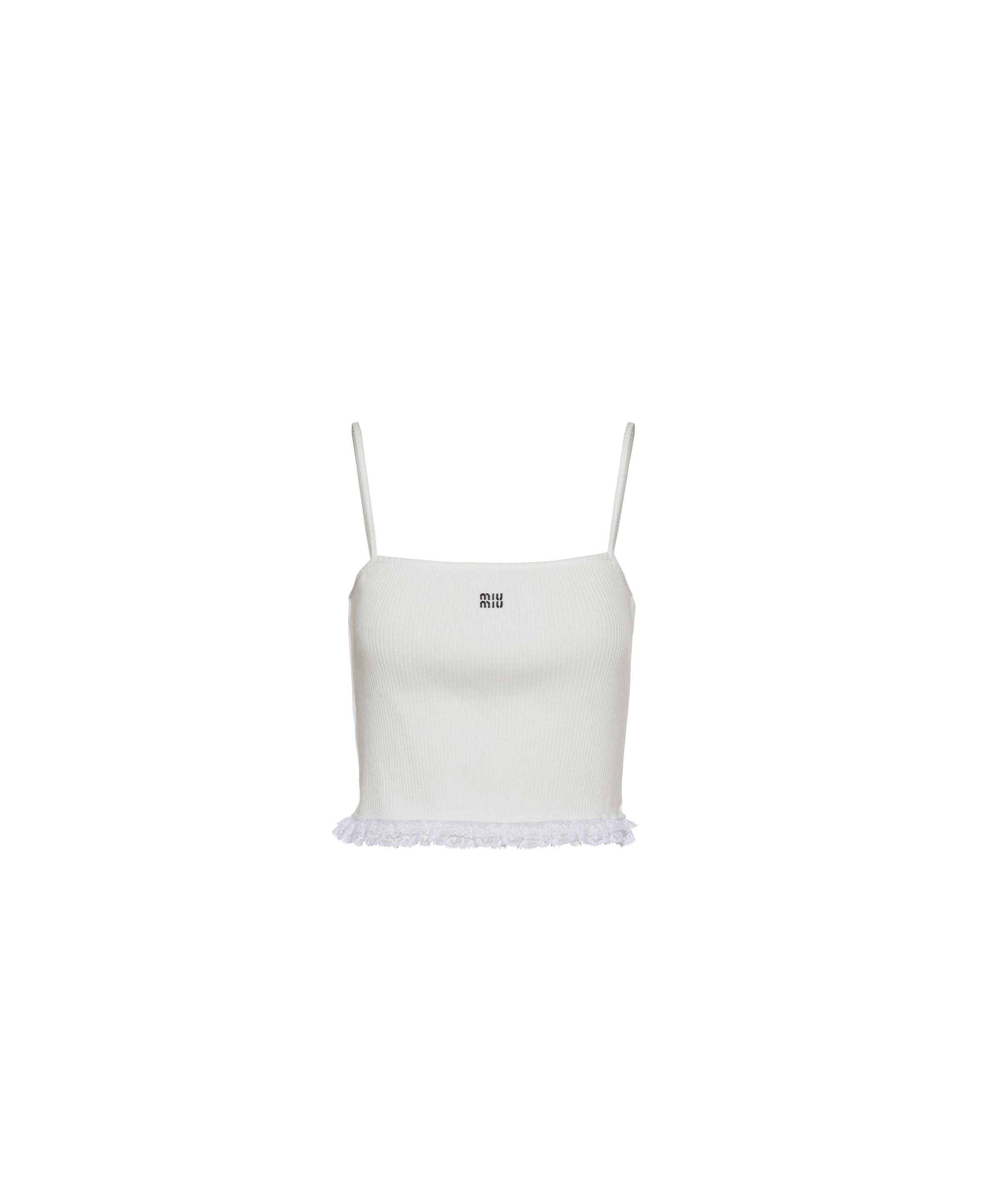 Embroidered Ribbed Knit Jersey Top Women White