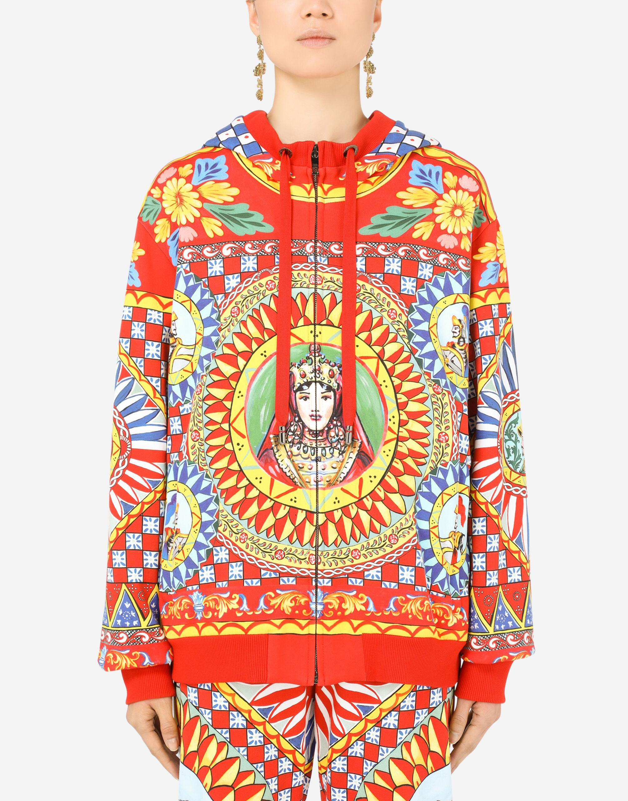 Jersey hoodie with Carretto print
