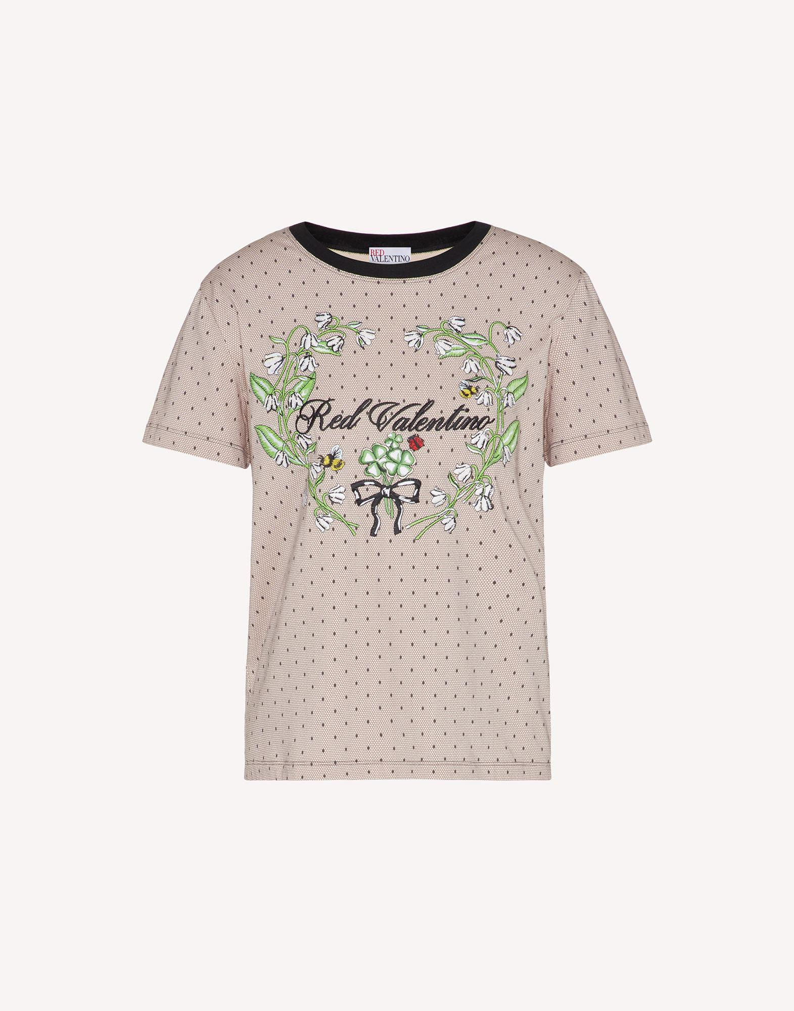 T-SHIRT WITH POINT D'ESPRIT AND FLORAL PRINT 4