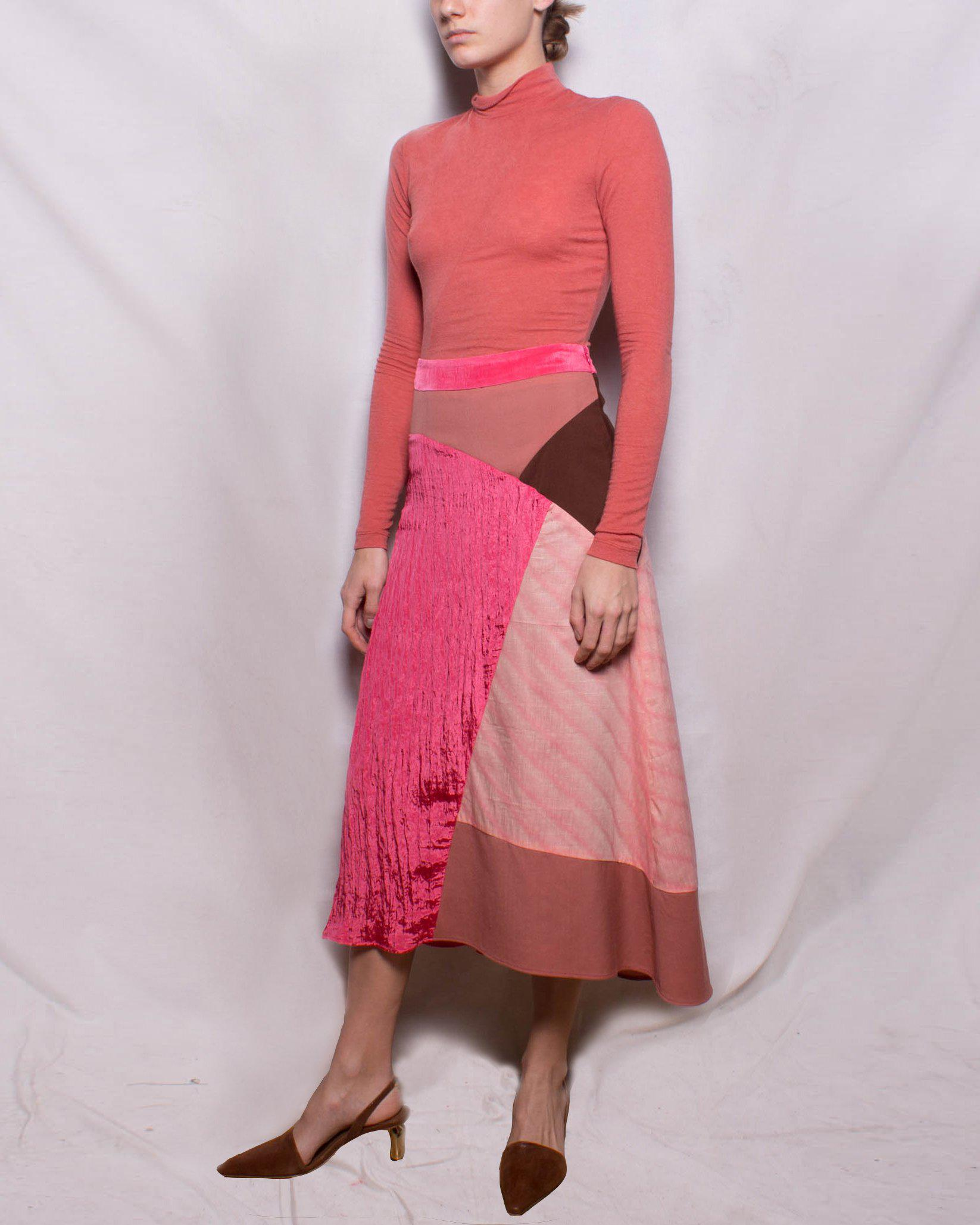 Ava Skirt Japanese Wool Suiting Satin Crinkle Coral Pink + Rust Tonal Mix + Cotton Pink - SPECIAL PRICE