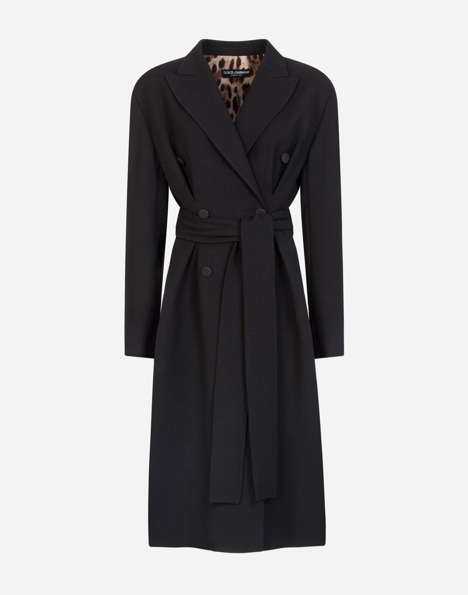 Belted double-breasted crepe coat 3