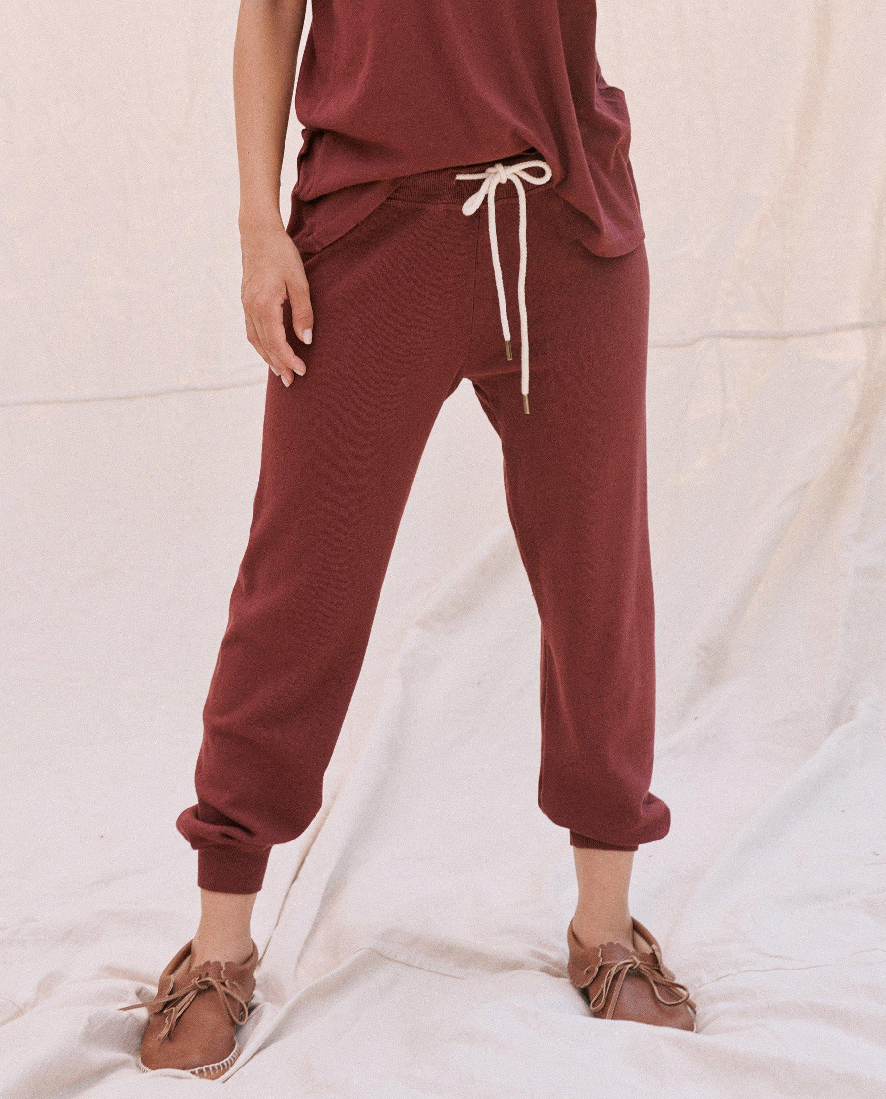 The Cropped Sweatpant. Solid -- Maroon