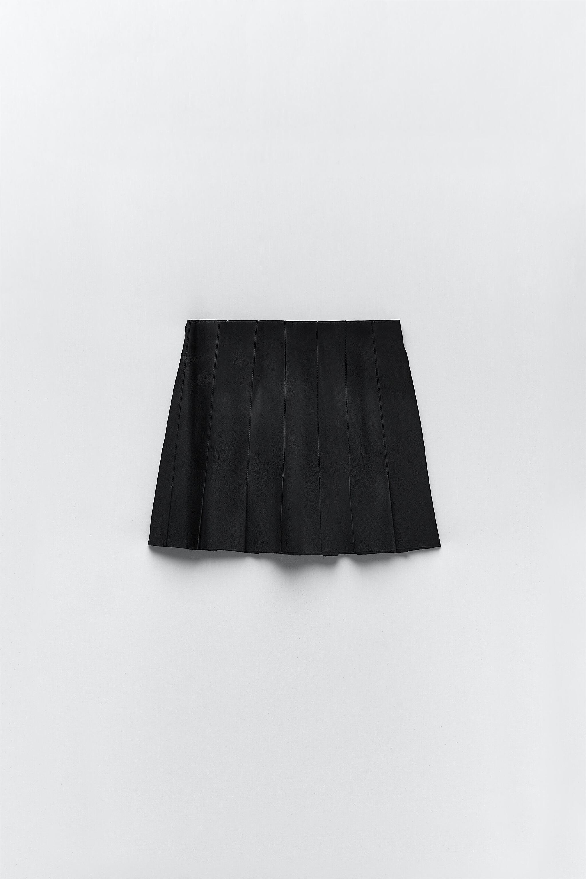 FAUX LEATHER BOX PLEAT SKIRT 8