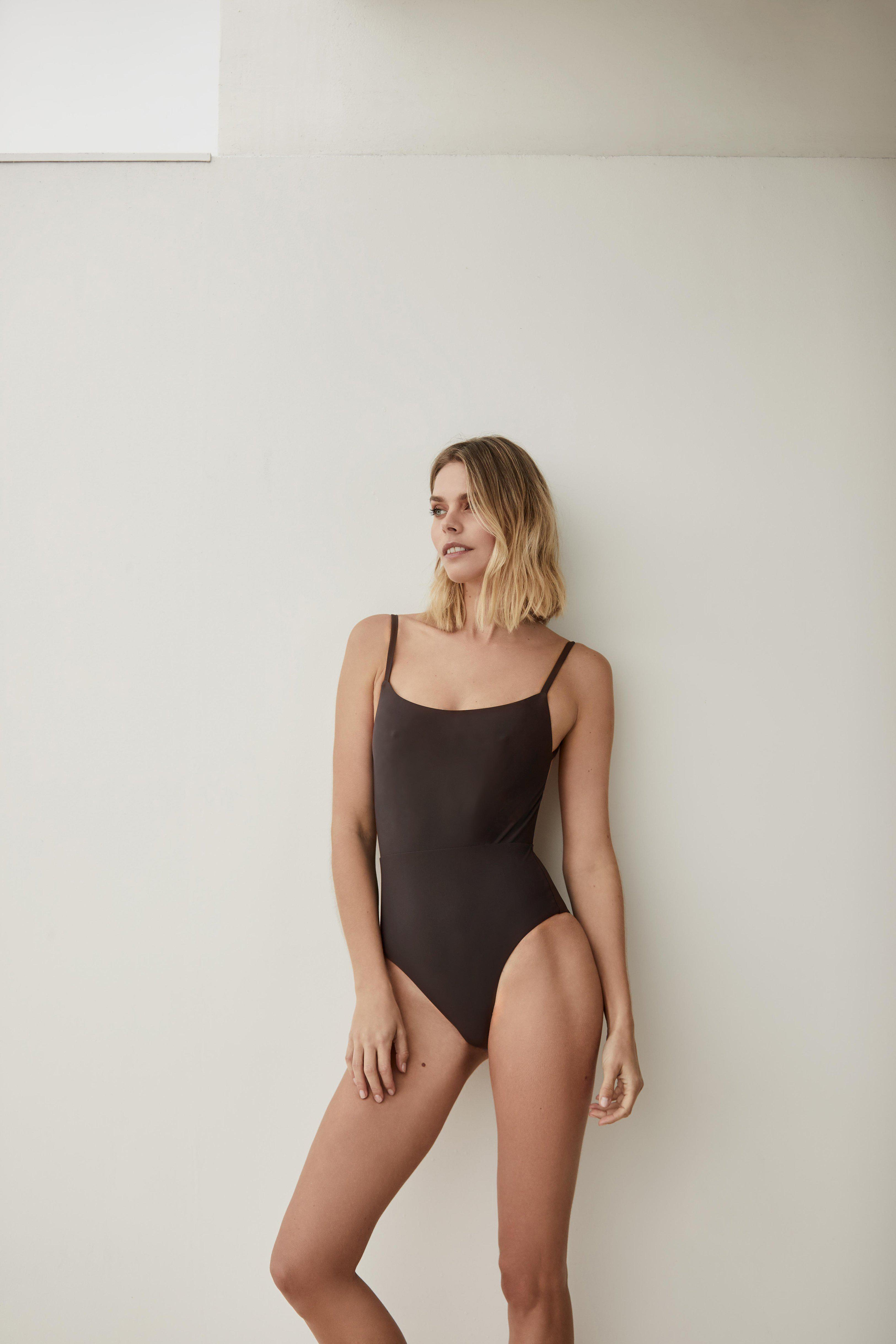 The Square Neck Open Back One Piece 2