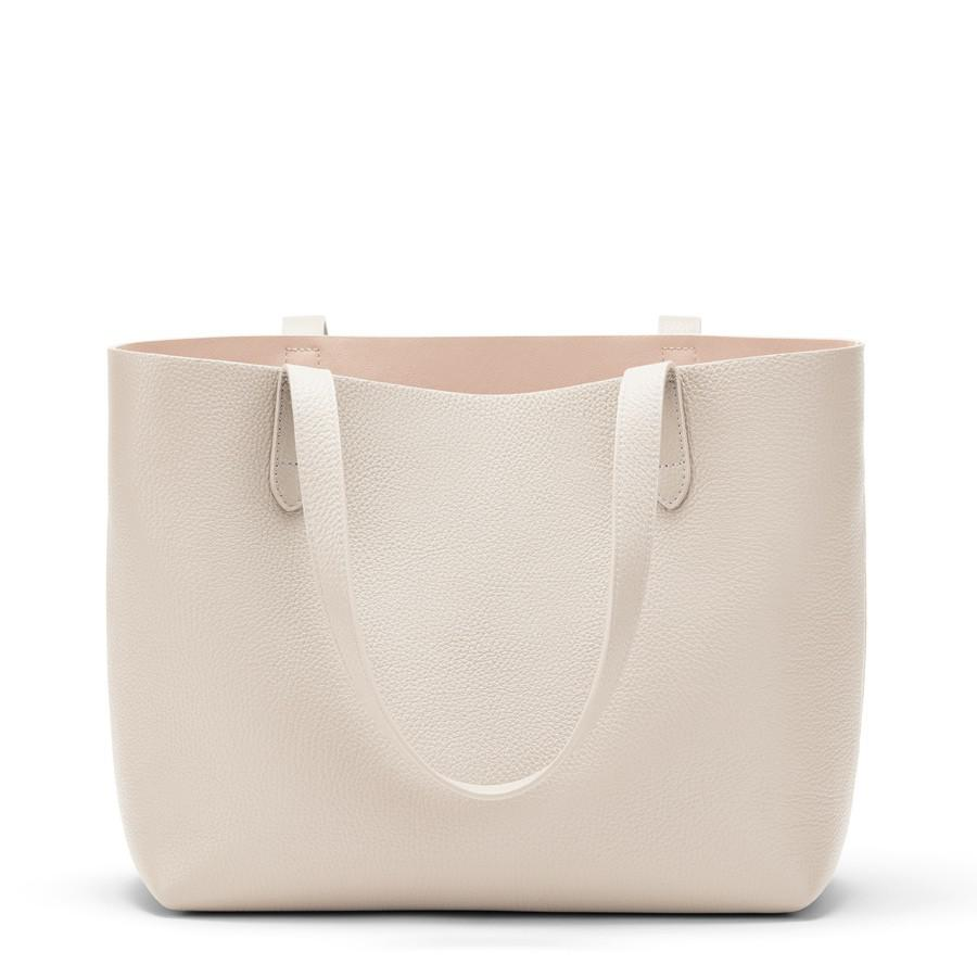 Women's Small Structured Leather Tote Bag in Ecru/Blush Pink | Pebbled Leather by Cuyana