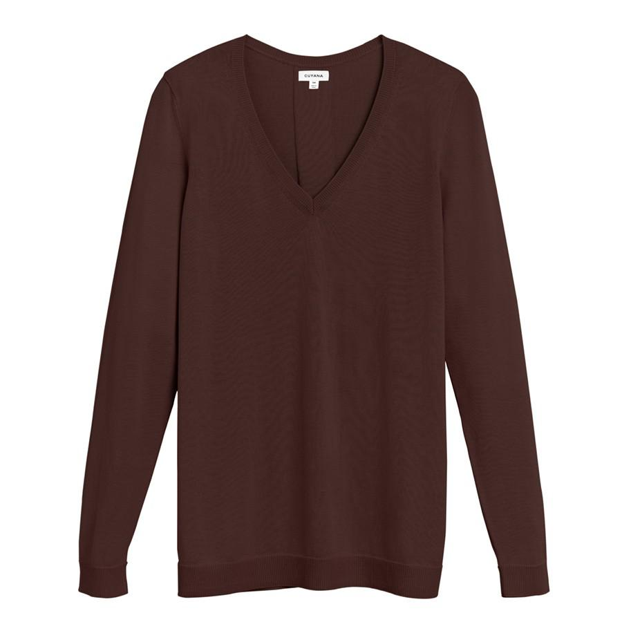 Women's Classic Cotton Cashmere V-Neck Sweater in Chocolate | Size: