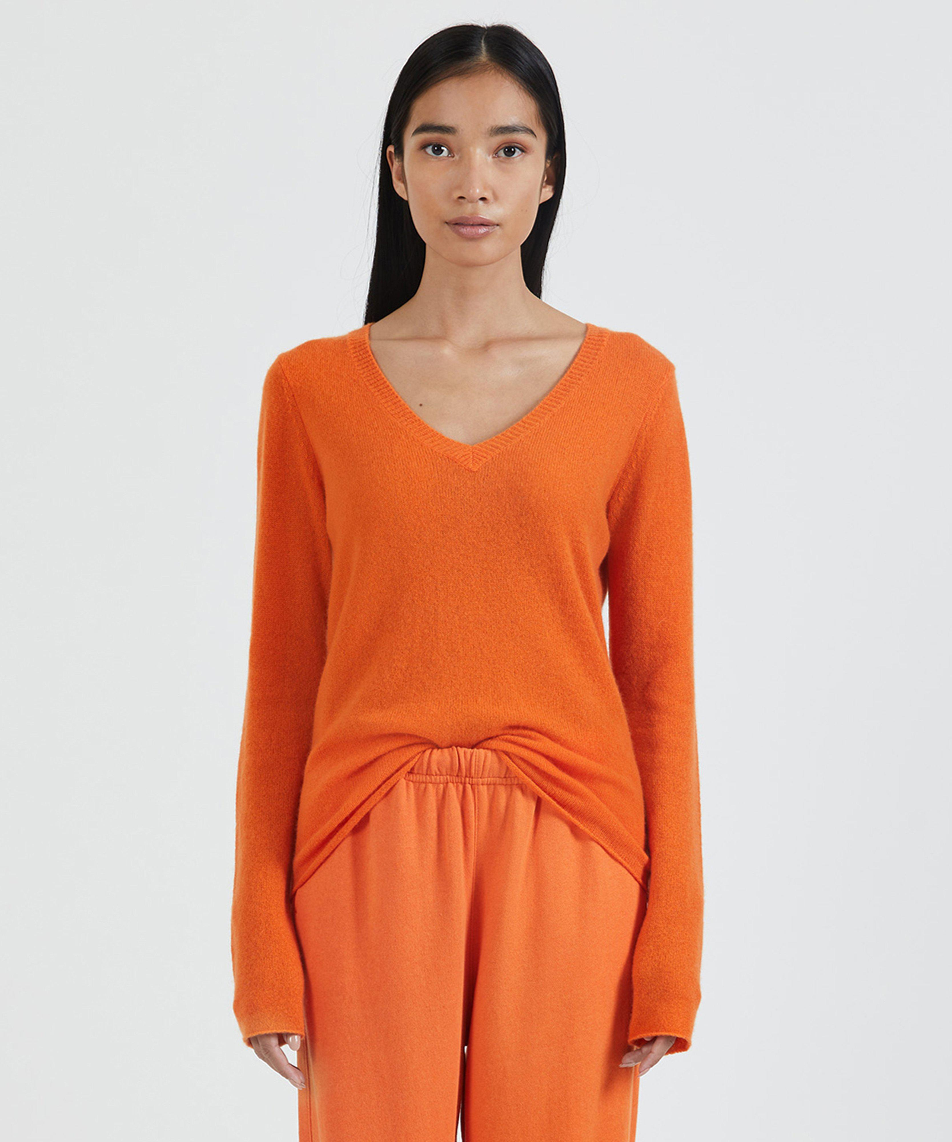 Cashmere V-Neck Sweater - Clementine