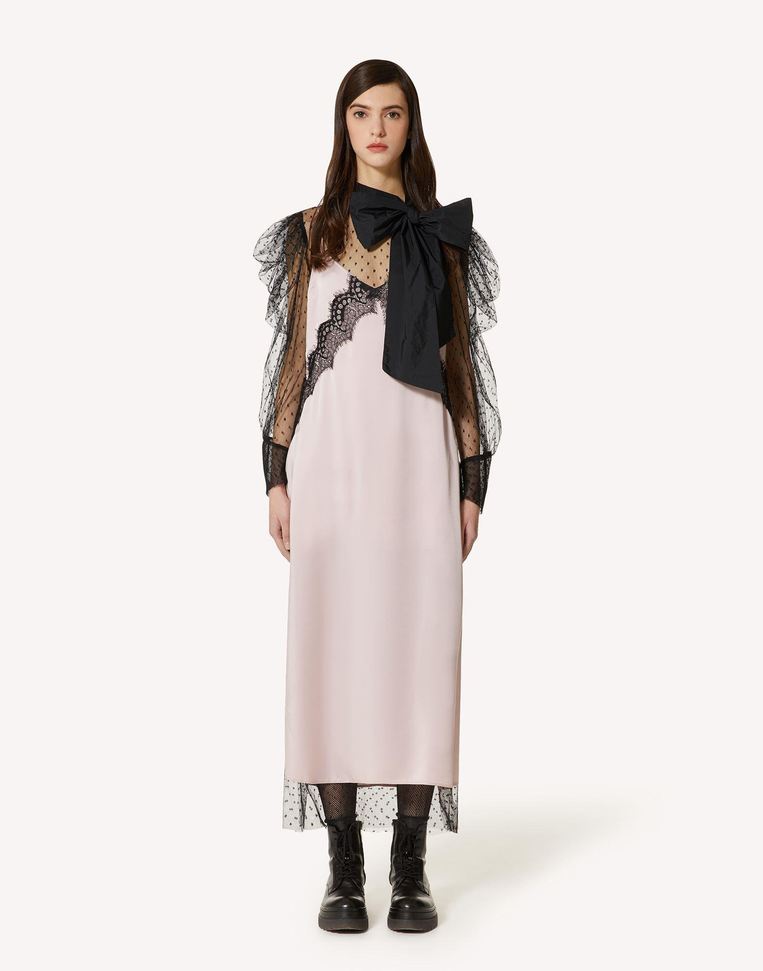 THE BLACK TAG. - FLUID SATIN DRESS WITH LACE