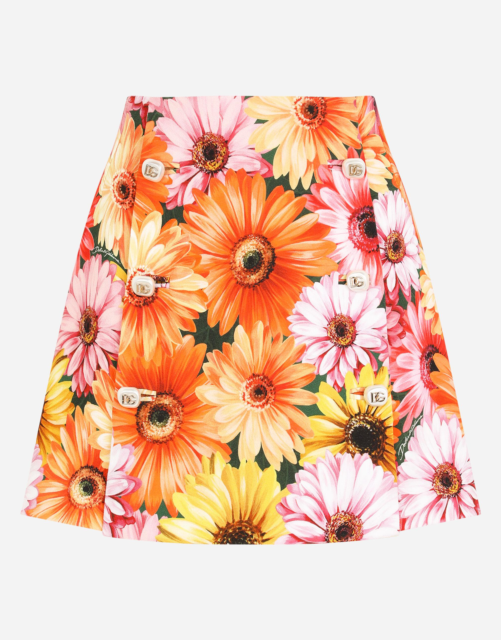 Cady miniskirt with gerbera-daisy print and decorative pearl DG buttons 5