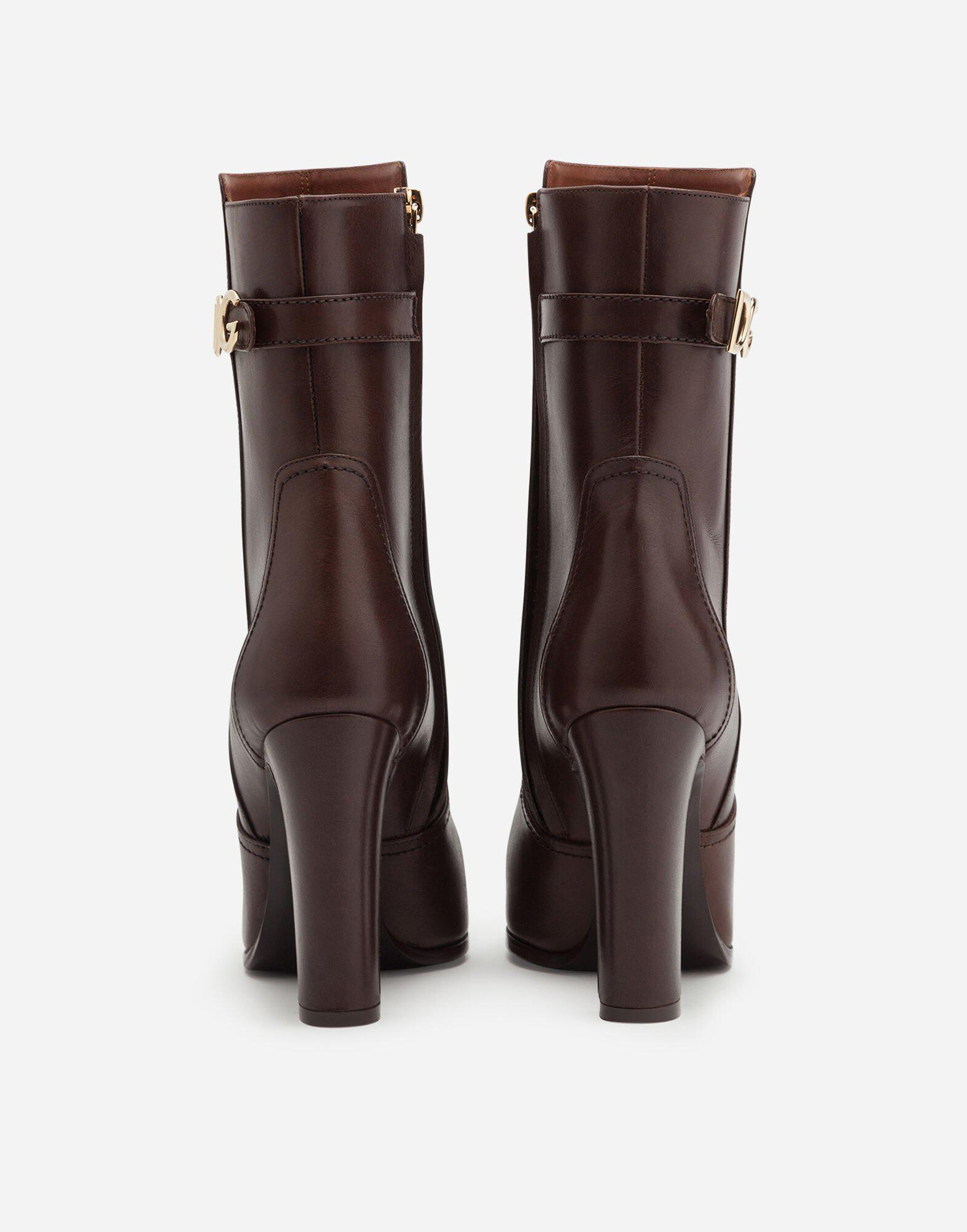 Ankle boots in cowhide with DG logo 2