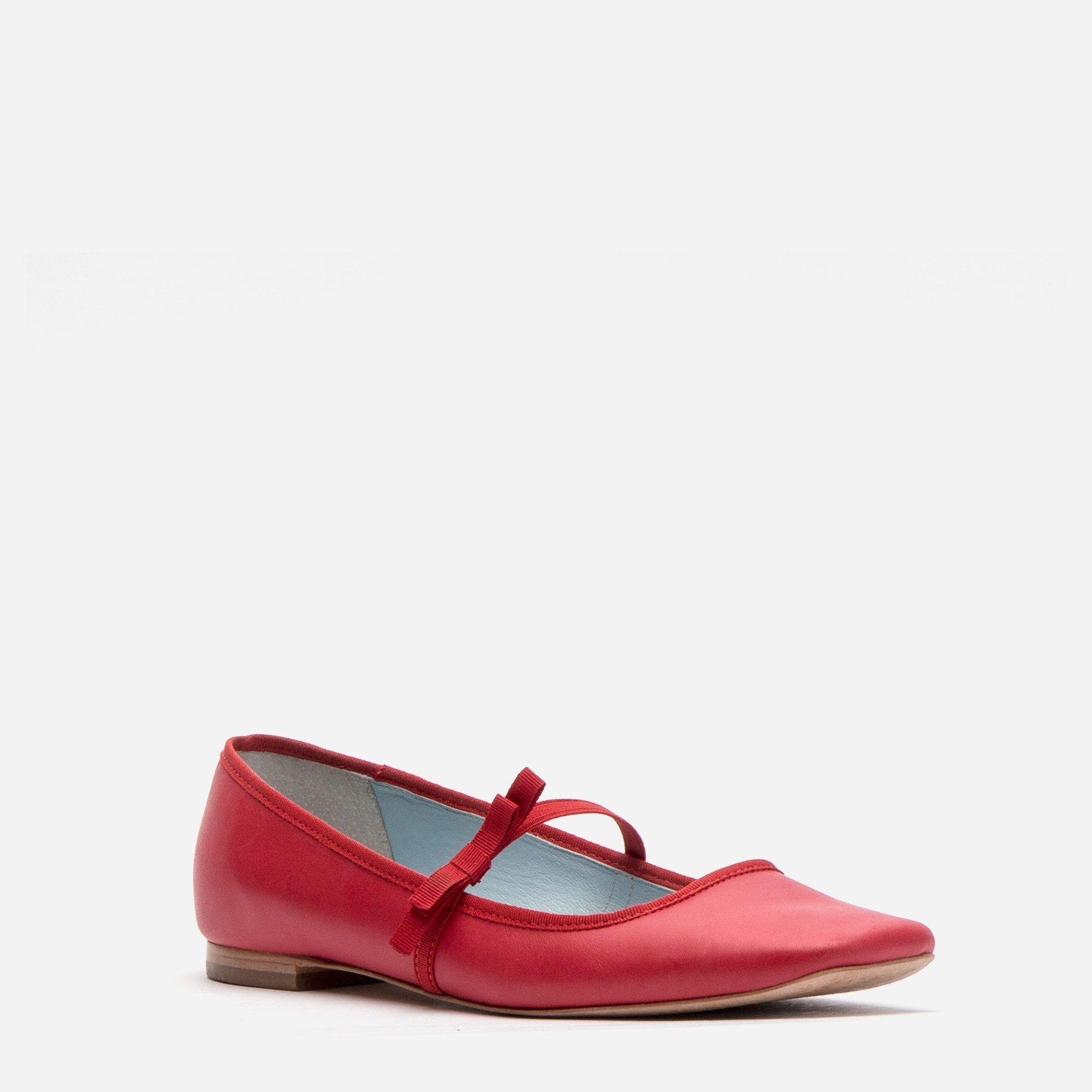 Jude Mary Jane Leather Flat Red 2