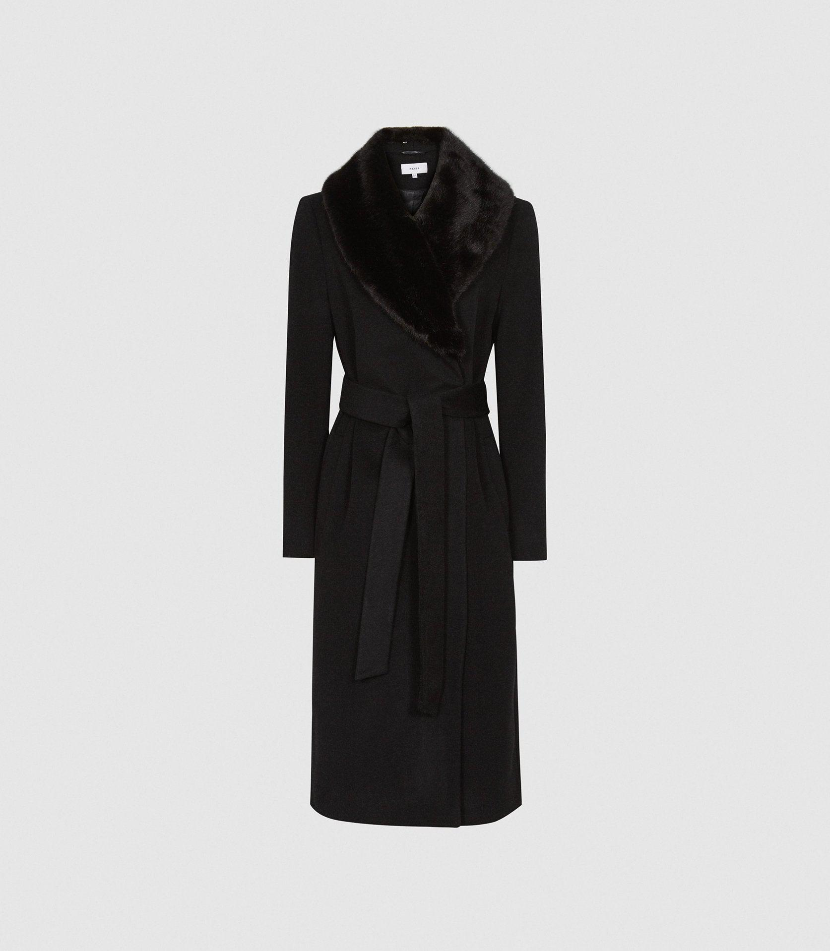 PACEY - FAUX FUR SHAWL COLLAR OVERCOAT 4