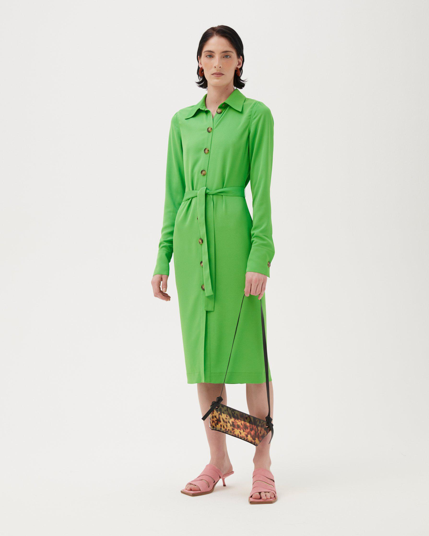 Estelle Dress Recycled Polyester Crepe Green