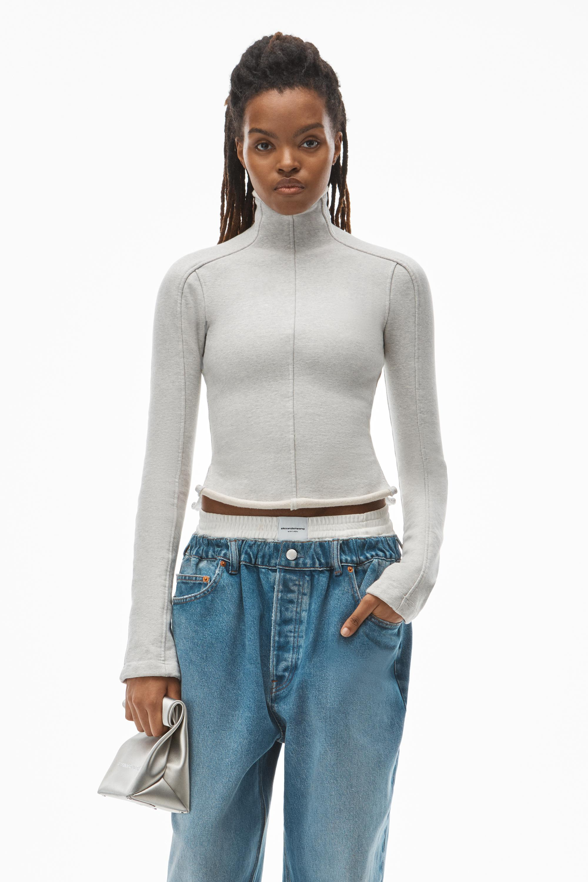 long-sleeve turtleneck in stretch terry