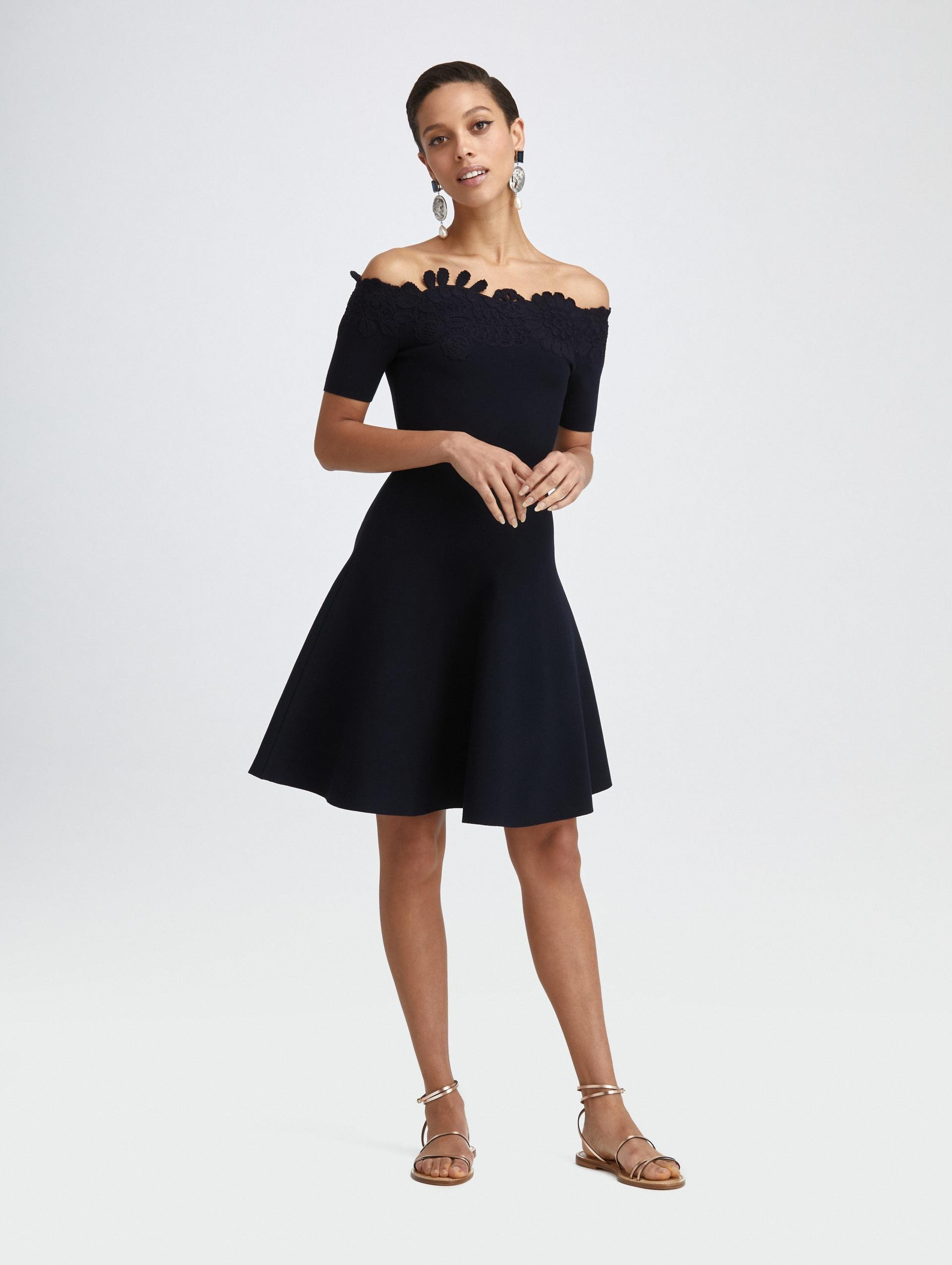 EMBROIDERED FIT AND FLARE KNIT DRESS