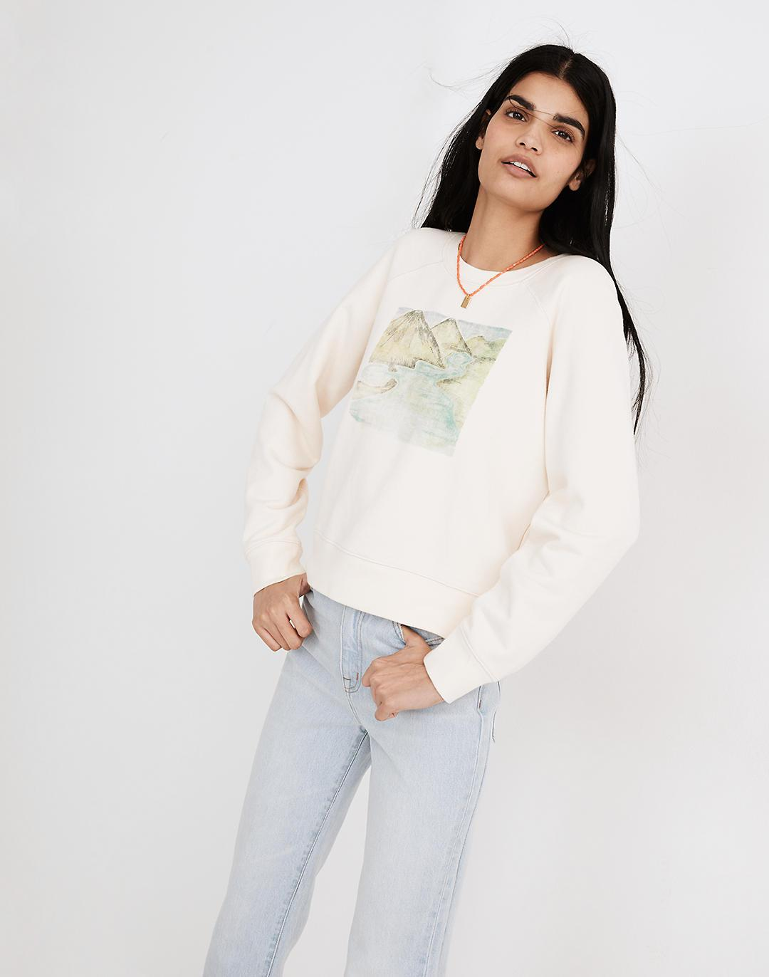 Tahitian Souvenir Graphic (Re)sourced Cotton Crop Sweatshirt