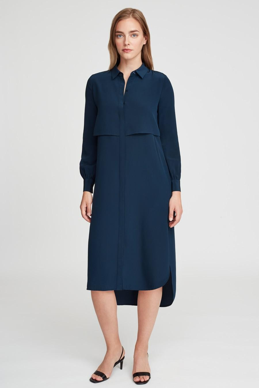 Women's Silk High-Low Shirt Dress in Navy   Size: Large   3 Ply Crepe Silk by Cuyana 1