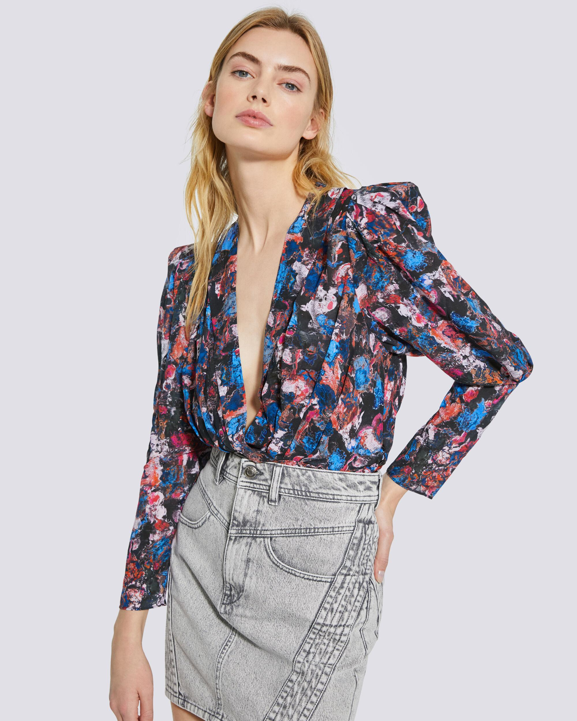 FORWIE FLORAL PRINTED DRAPED TOP