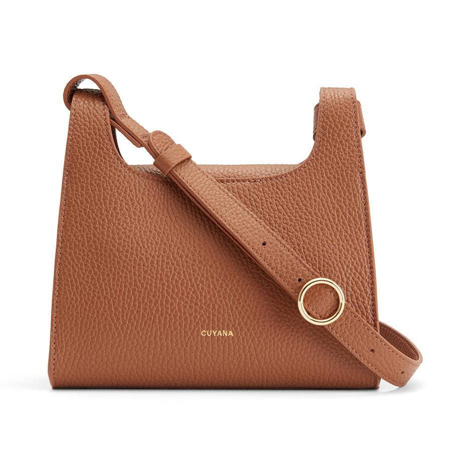 Women's Mini Double Loop Bag in Caramel | Pebbled Leather by Cuyana