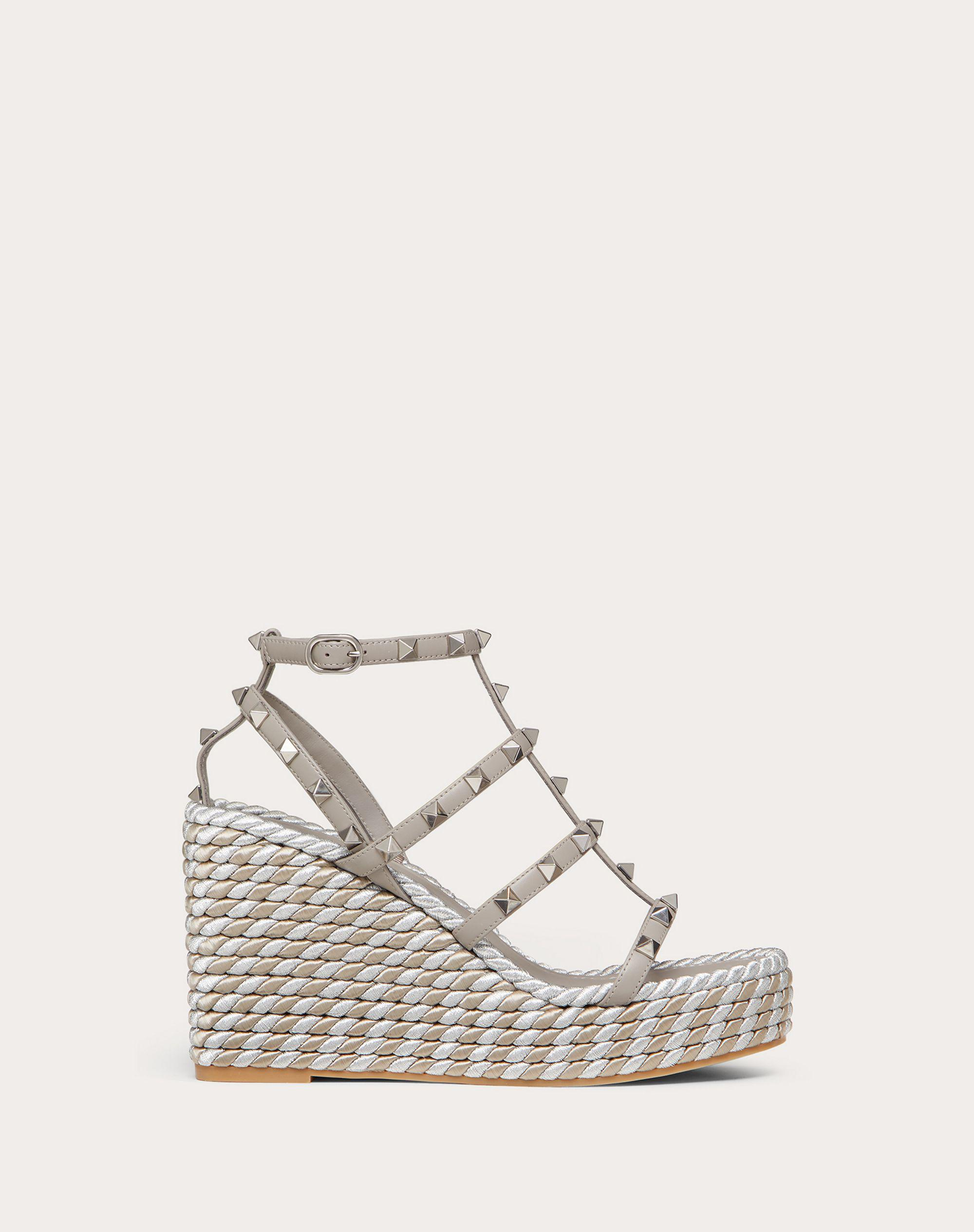 Rockstud Calfskin Wedge Sandal with Straps 95 mm / 3.8 in.