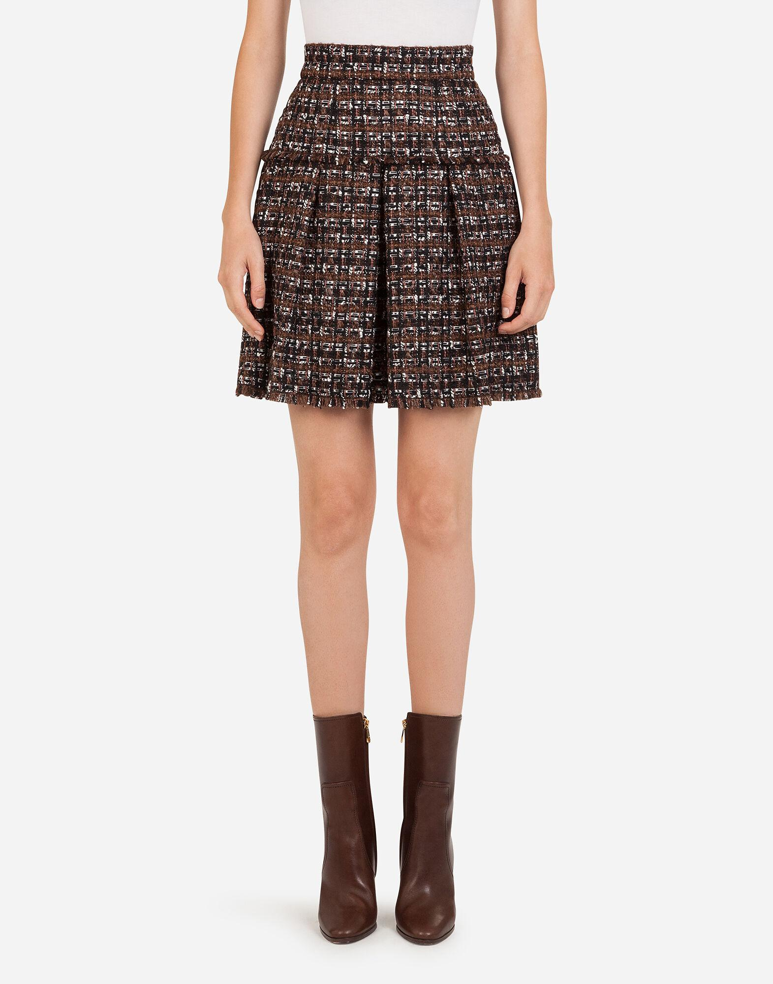 Short tweed circle skirt with flounce detailing