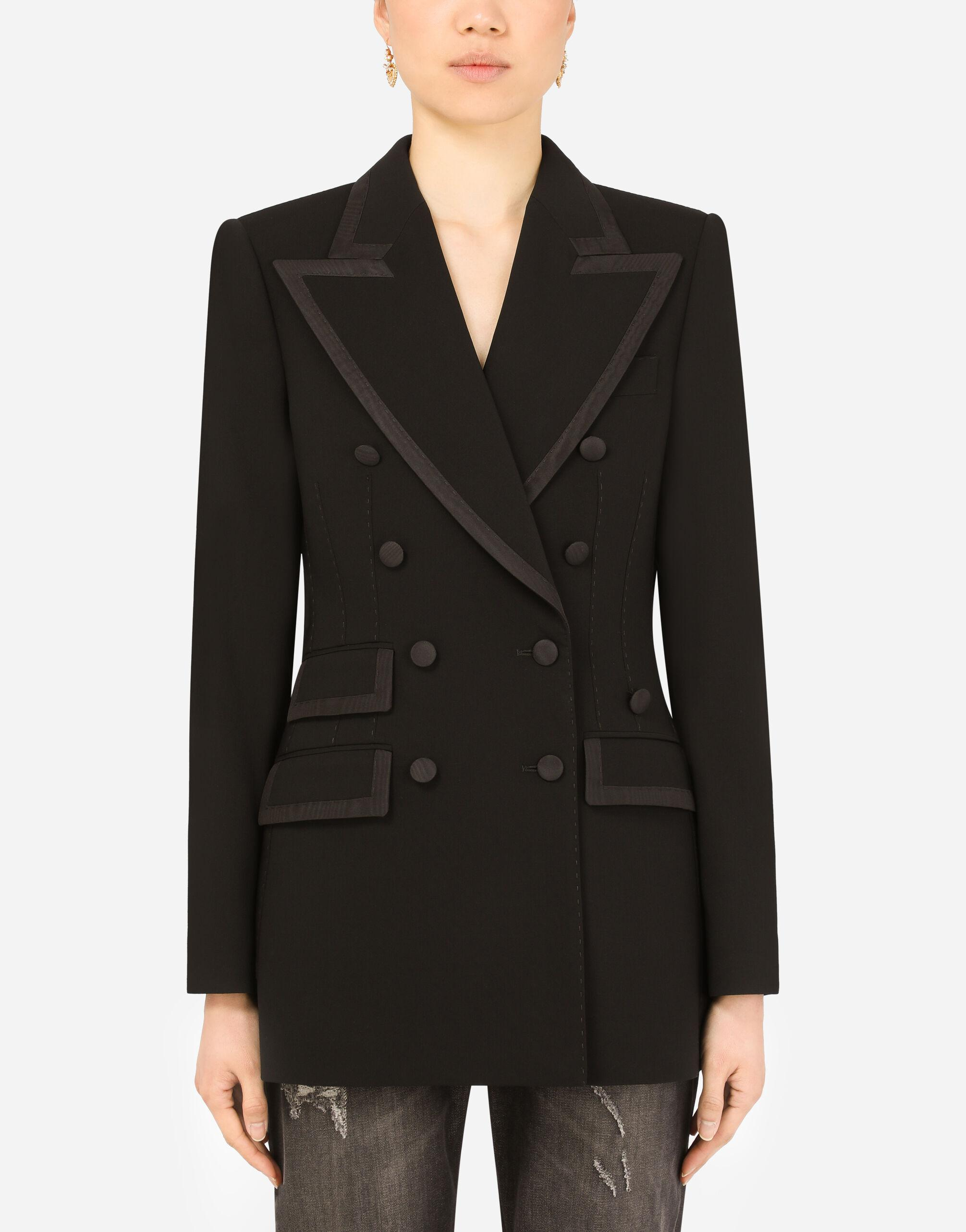 Wool double-breasted Turlington jacket with silk faille piping