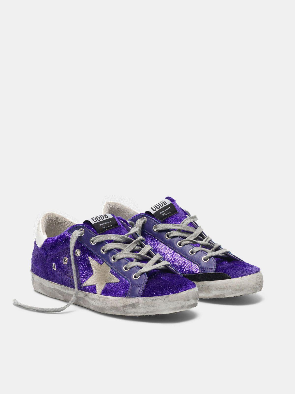 Super-Star sneakers with purple shimmer lamé threads 2