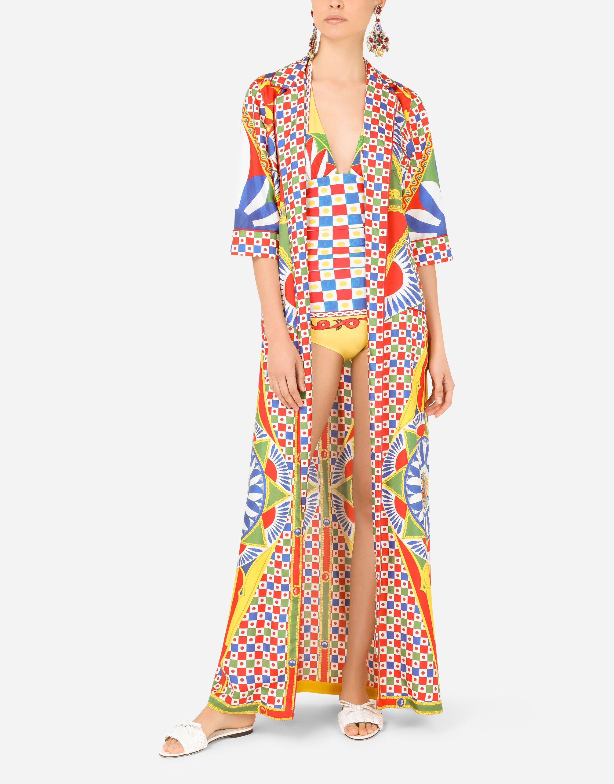 Carretto-print one-piece swimsuit with plunging neckline