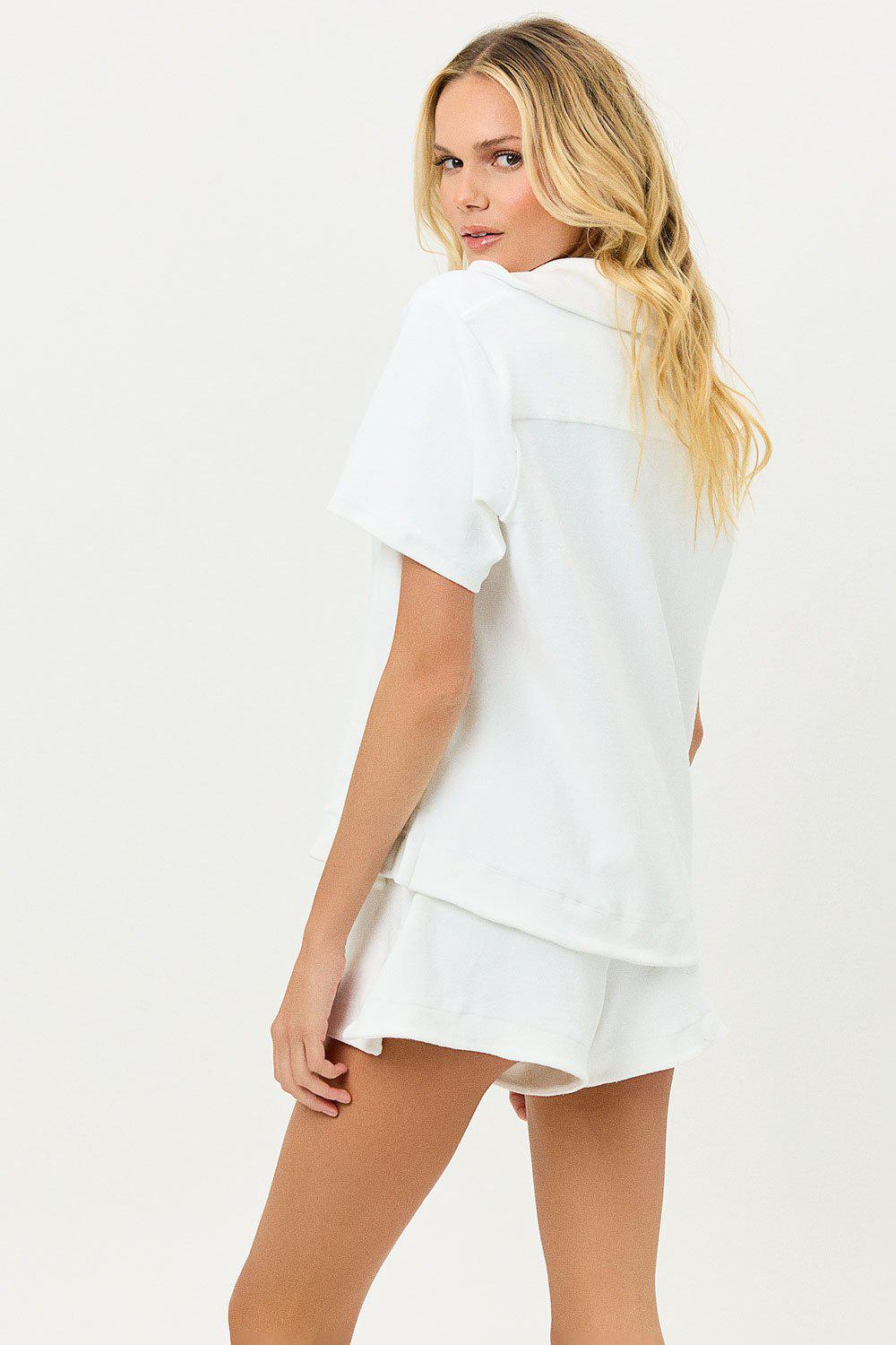 Coco Terry Button Up Shirt - White 3