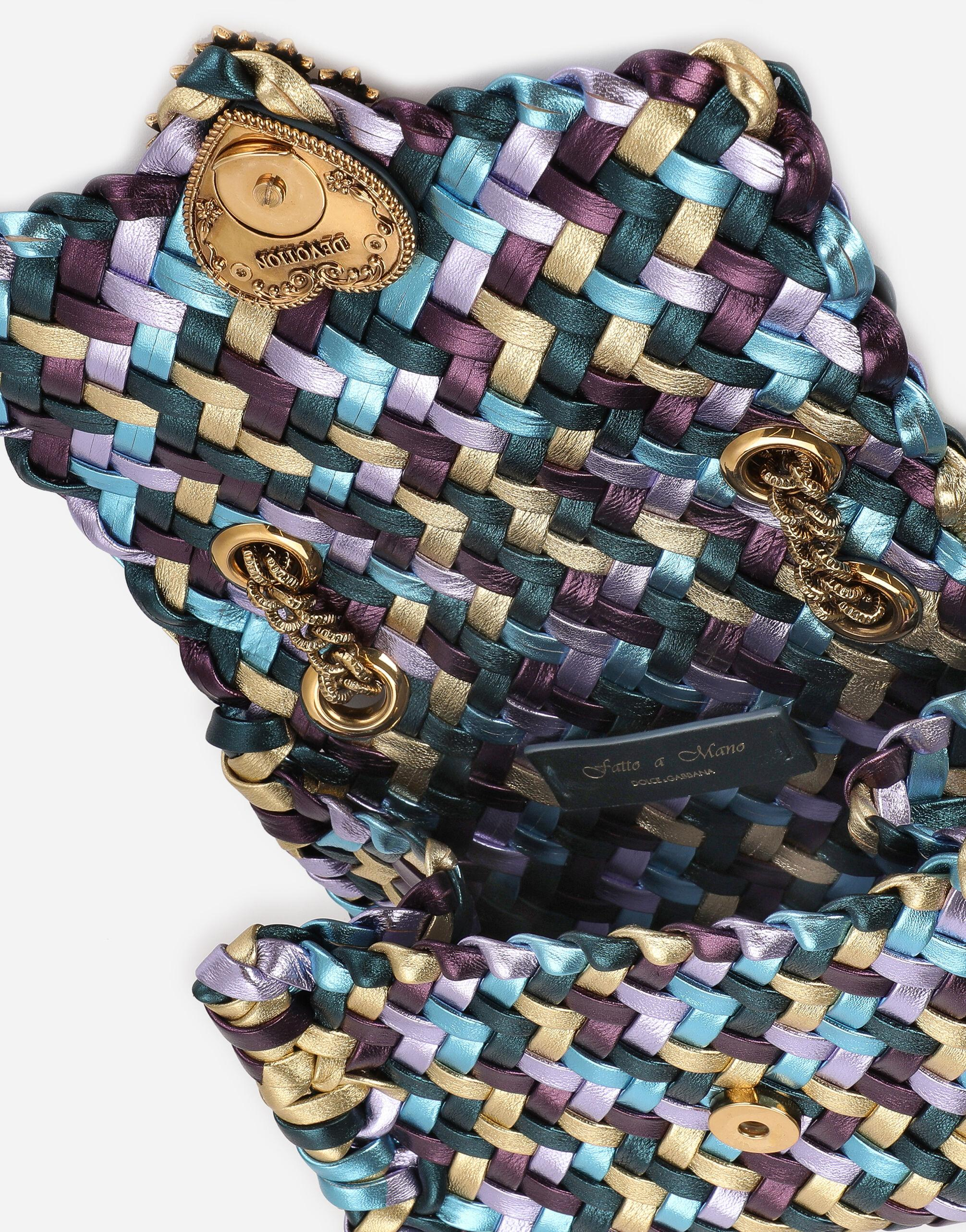 Small Devotion shoulder bag in woven laminated nappa leather 4