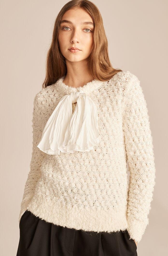 ALPACA SWEATER WITH REMOVABLE BOW