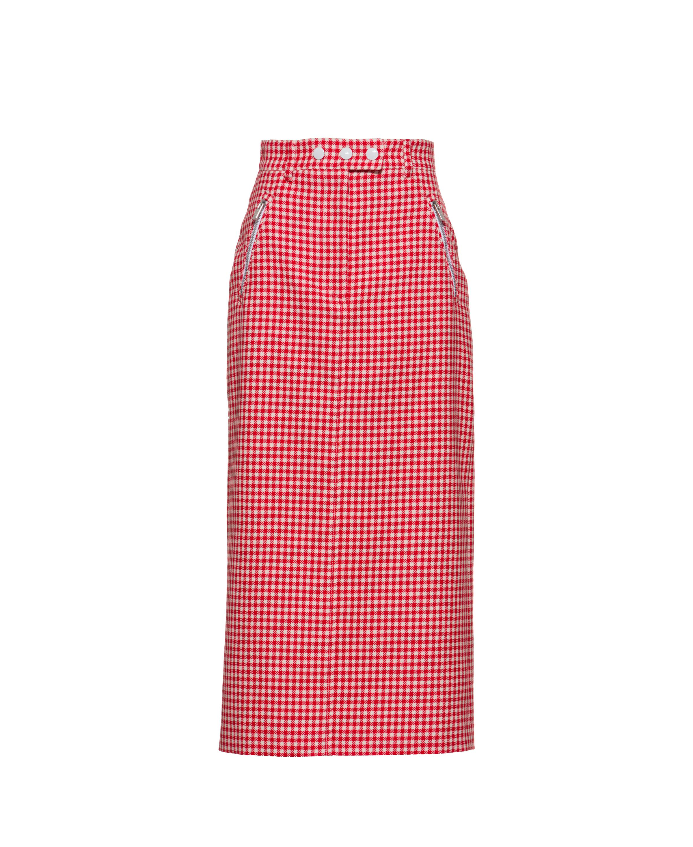 Gingham Check Twill Skirt Women Red