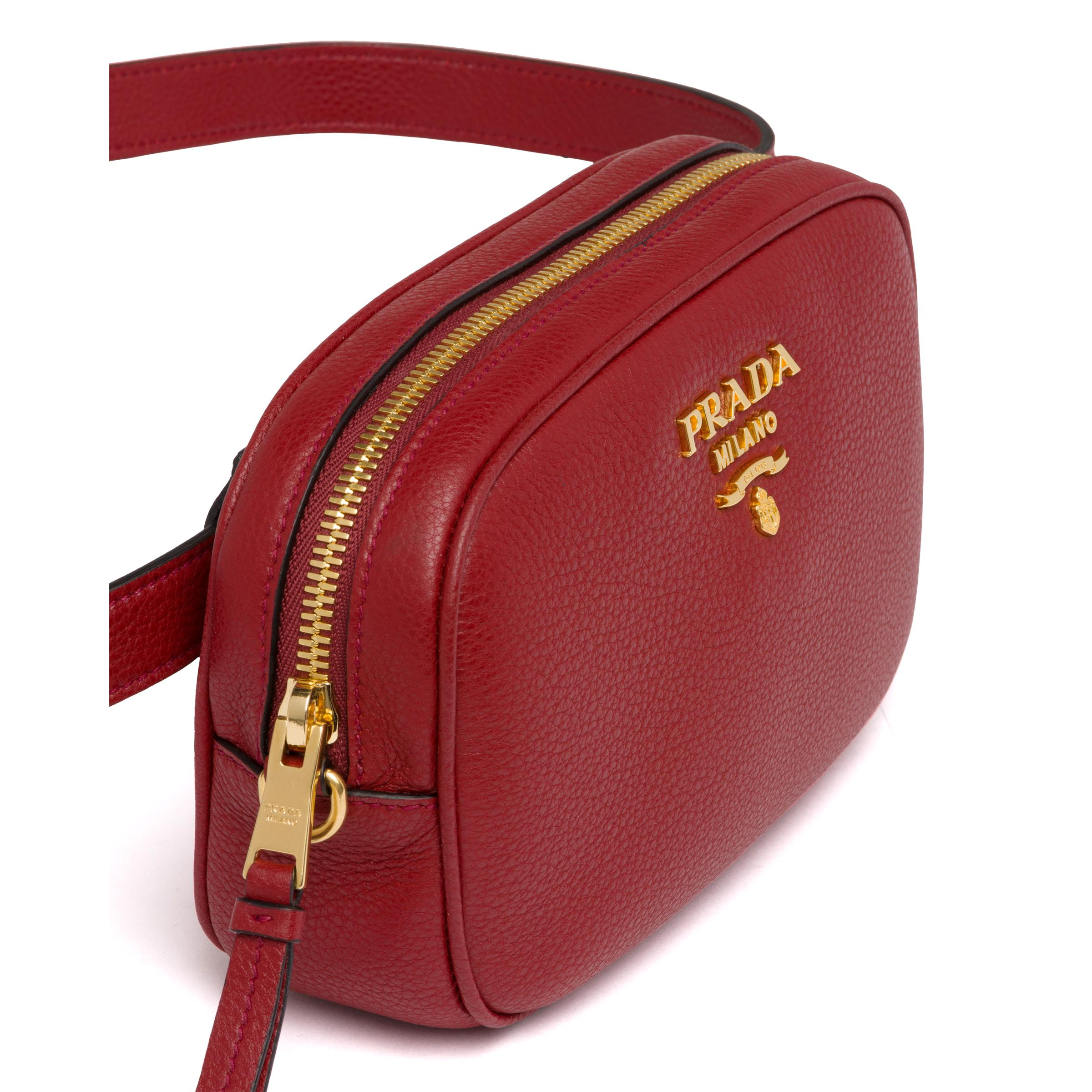 Leather Belt Bag Women Ruby Red 5