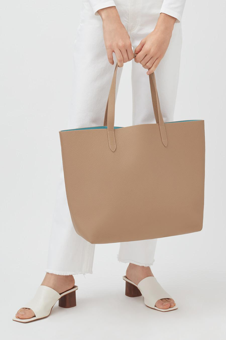 Women's Classic Structured Leather Tote Bag in Cappuccino/Blue | Pebbled Leather by Cuyana 5