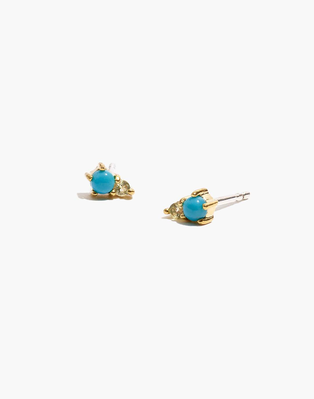Delicate Collection Demi-Fine 14k Plated Turquoise and Topaz Stud Earrings